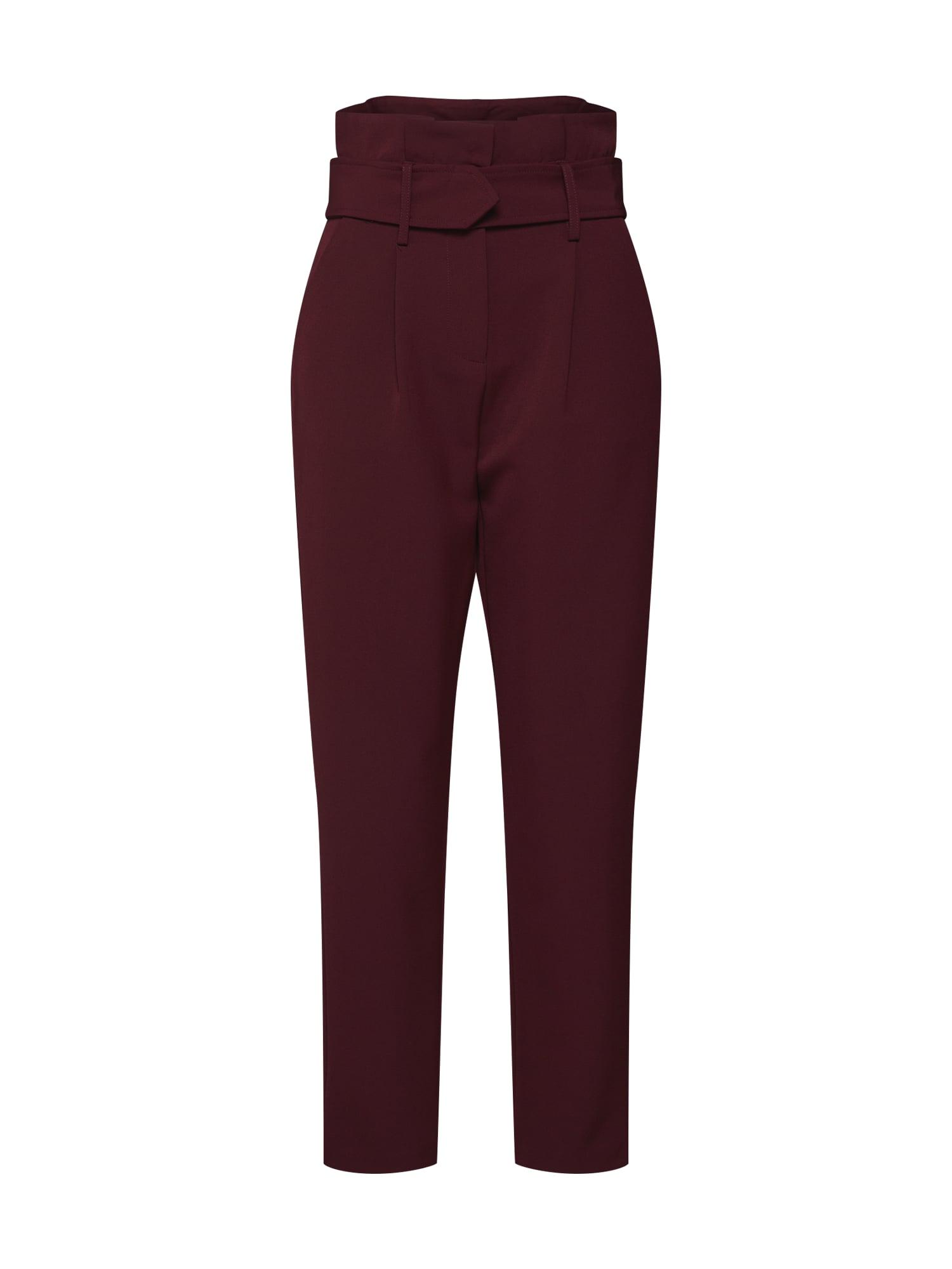 Kalhoty se sklady v pase TAILORED PEG TROUSER burgundská červeň Lost Ink
