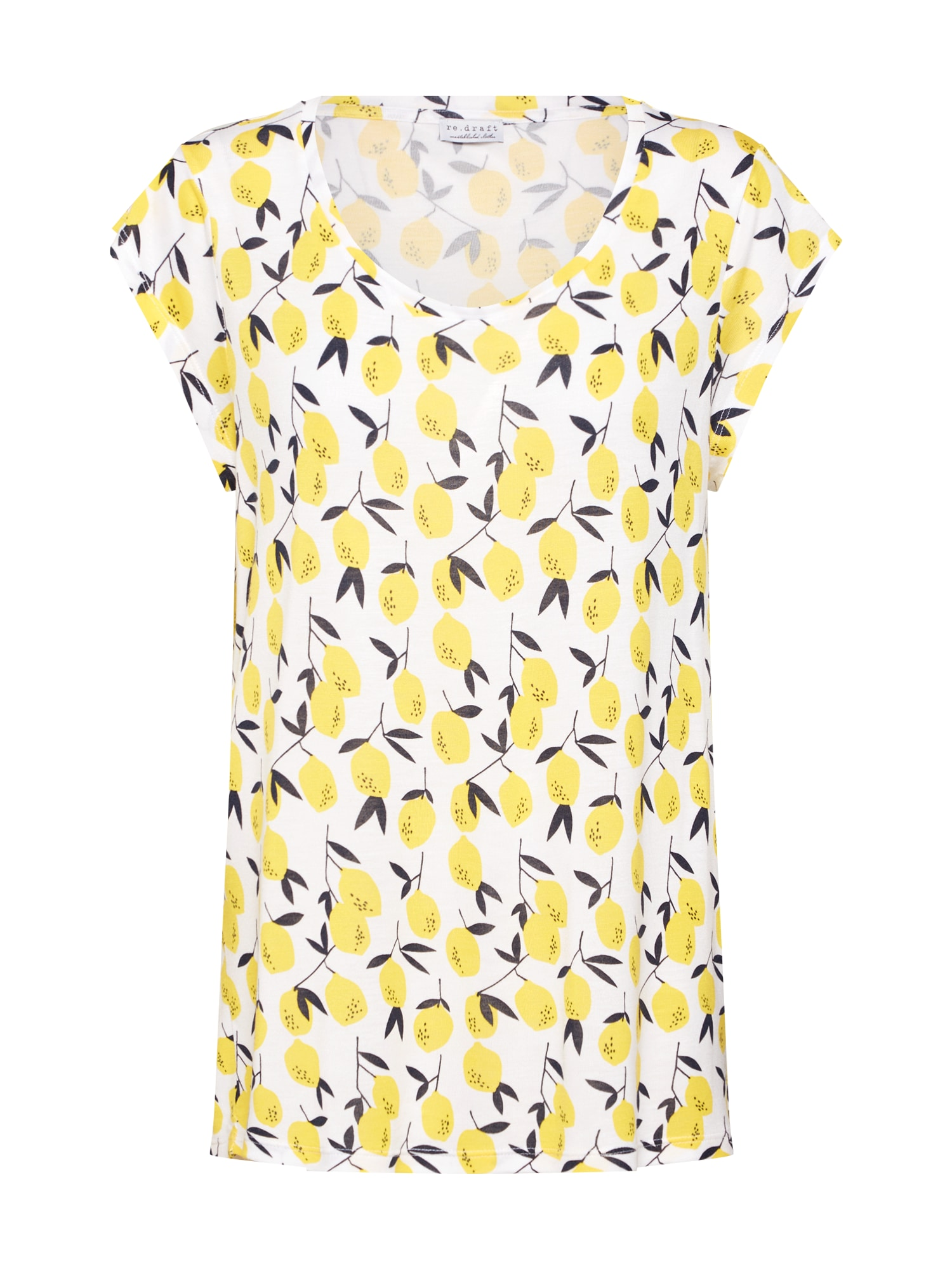 Re.draft Tričko 'Lemon Print Shirt'  citronová / černá / bílá
