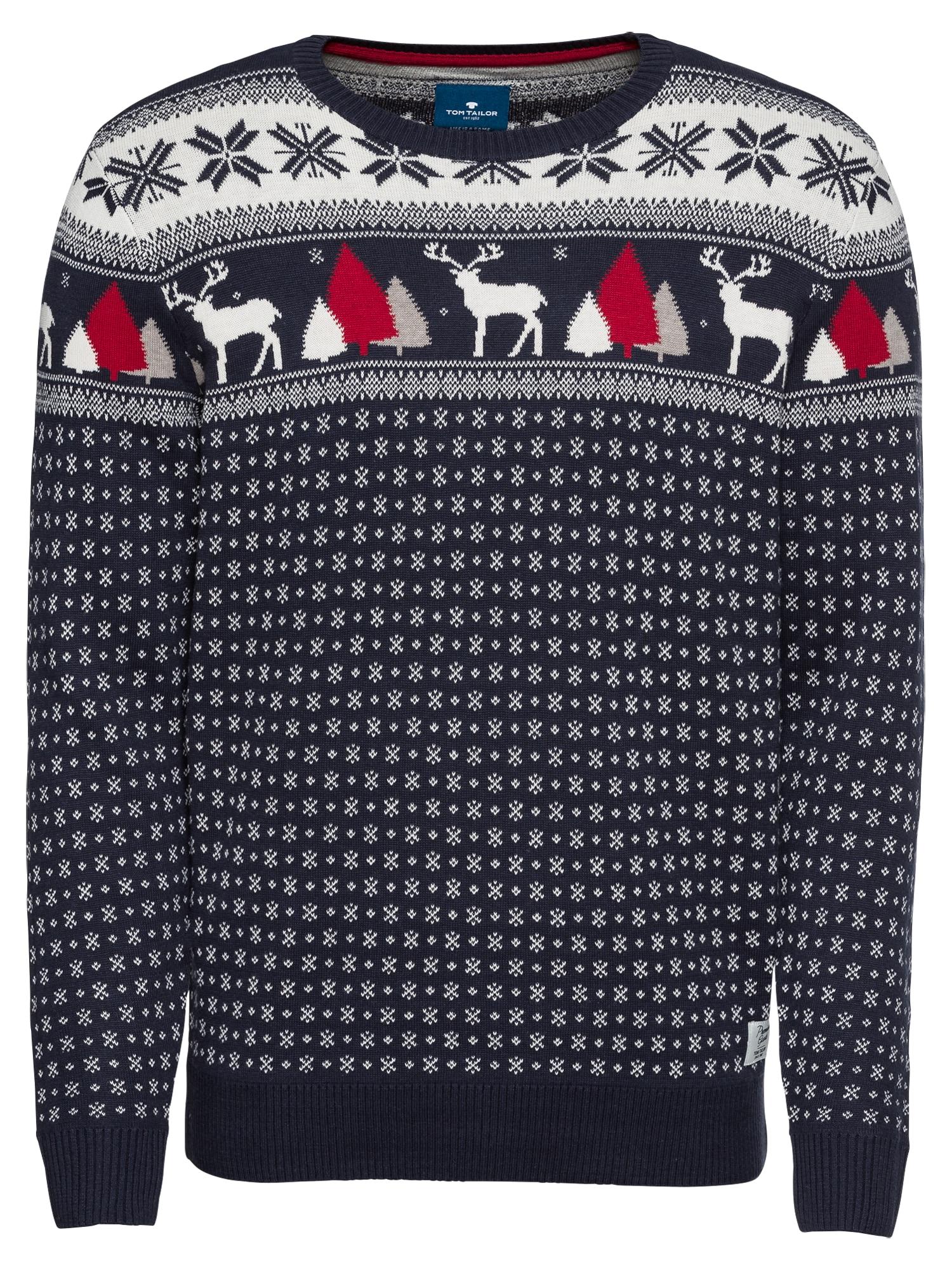 Svetr christmas sweater noční modrá bílá TOM TAILOR