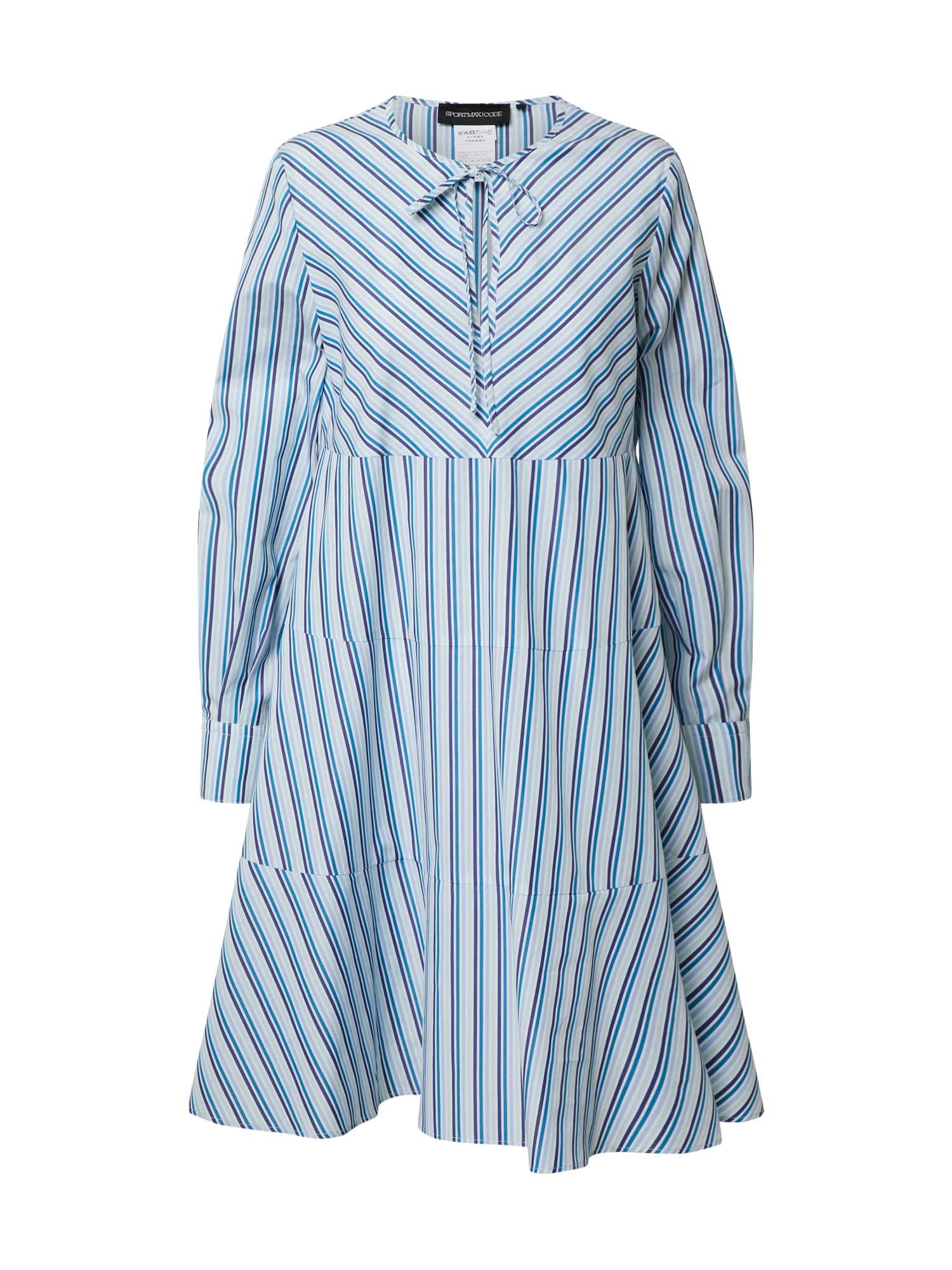 Sportmax Code Košilové šaty 'Abbono'  modrá / bílá / tmavě fialová