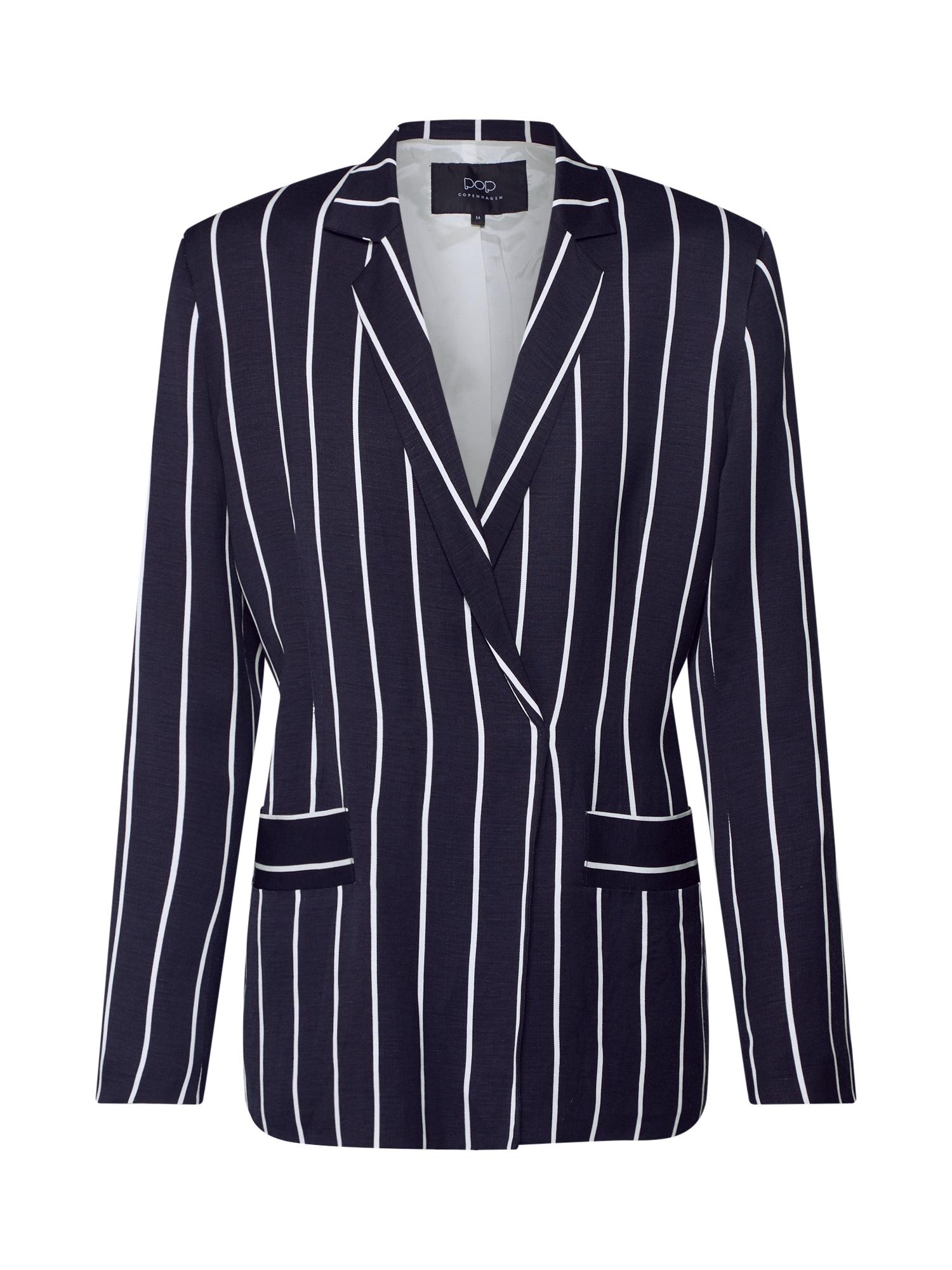 Blejzr Striped Linen Blazer námořnická modř Pop Copenhagen