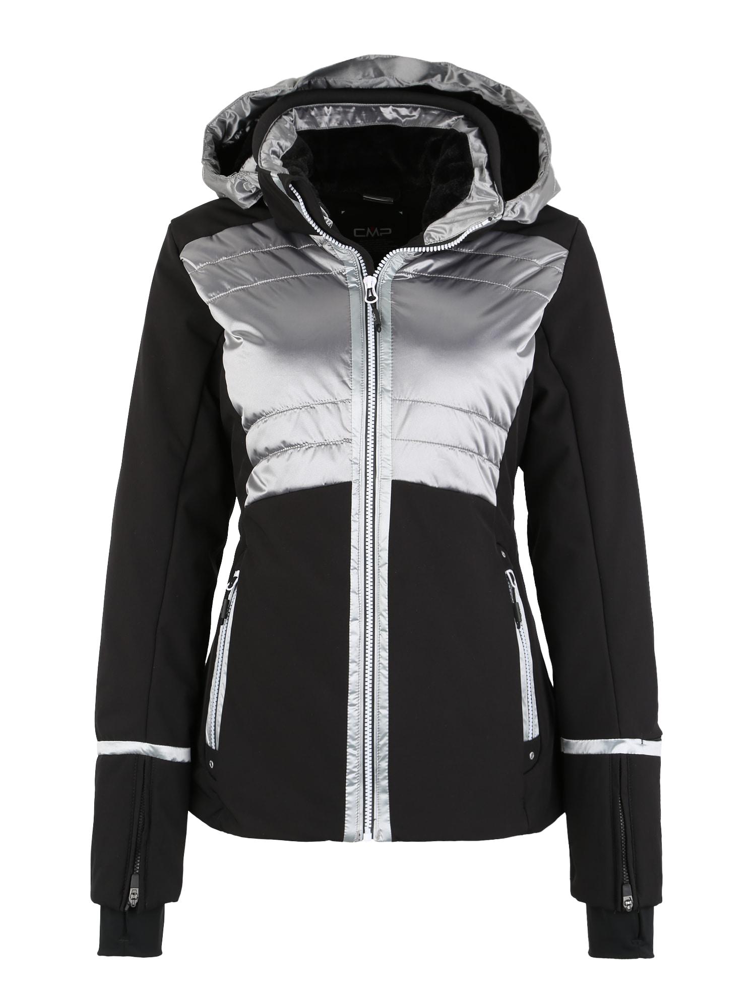 Outdoorová bunda černá stříbrná CMP