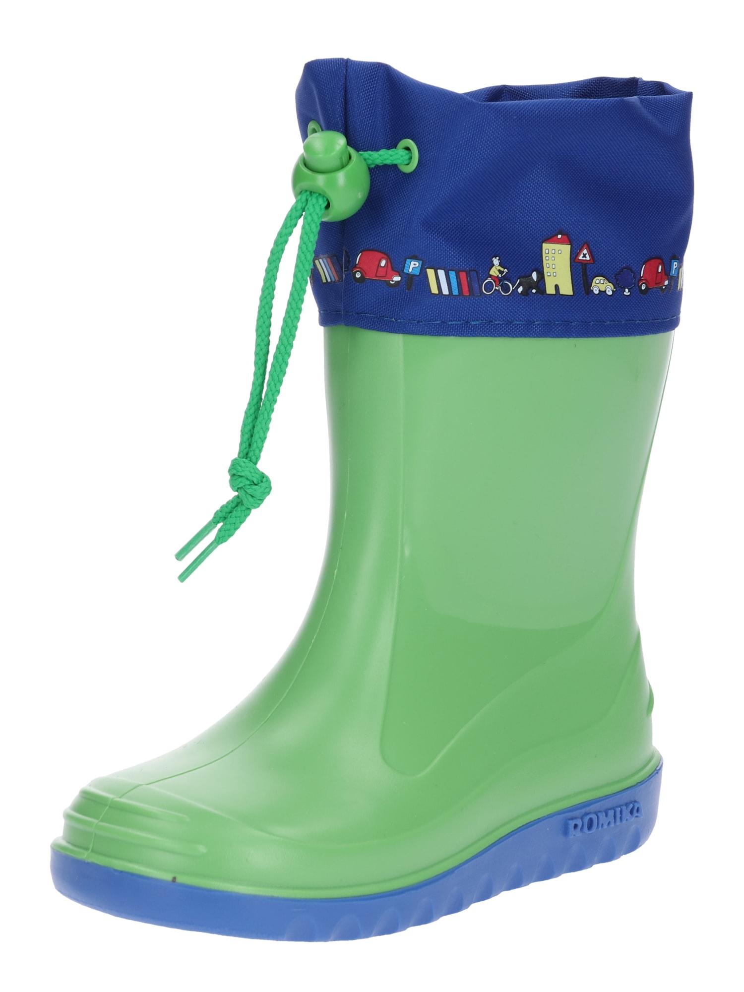 Gumové holínky Jerry modrá zelená ROMIKA