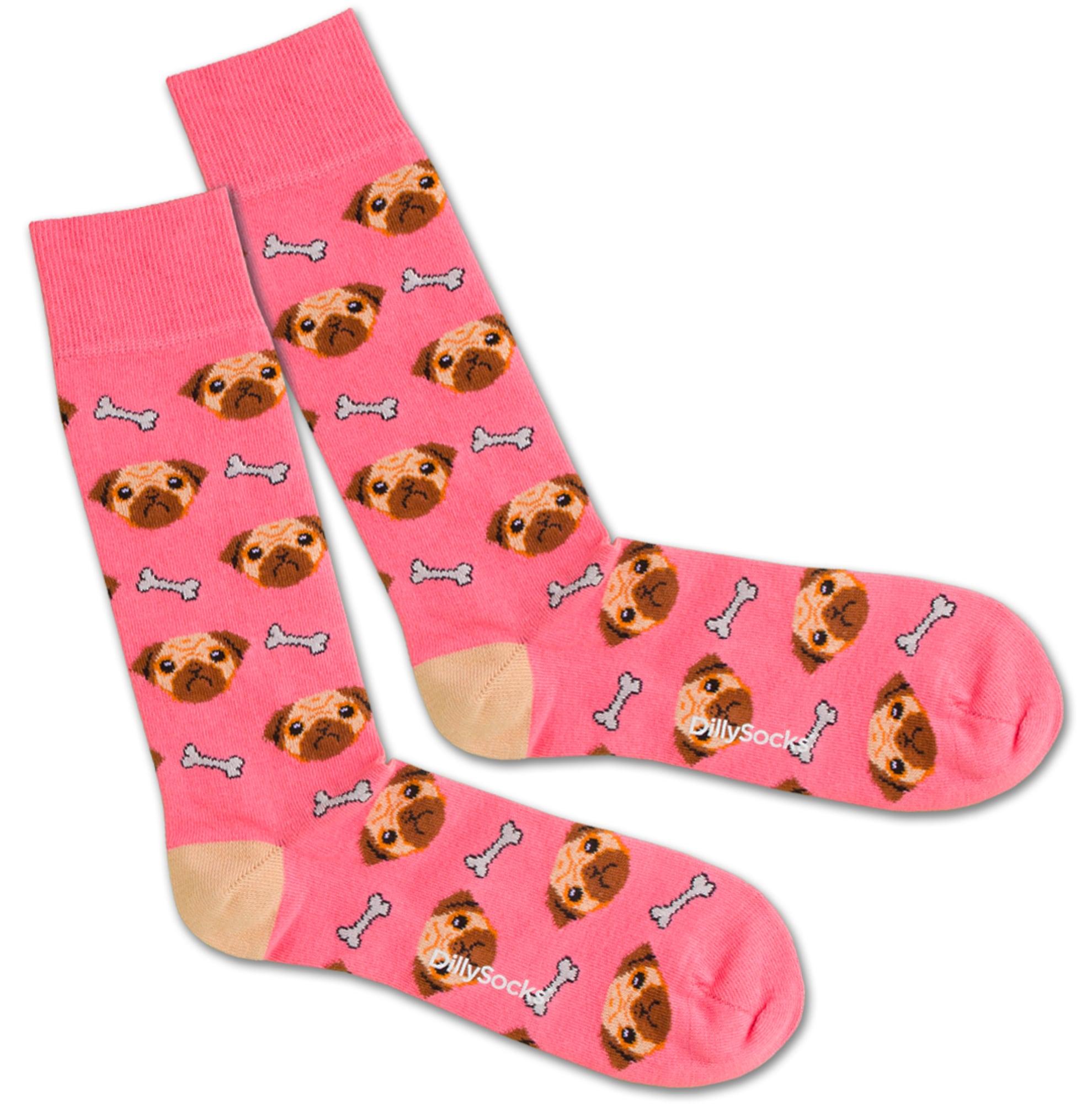 Ponožky Dog Love hnědá pink bílá DillySocks