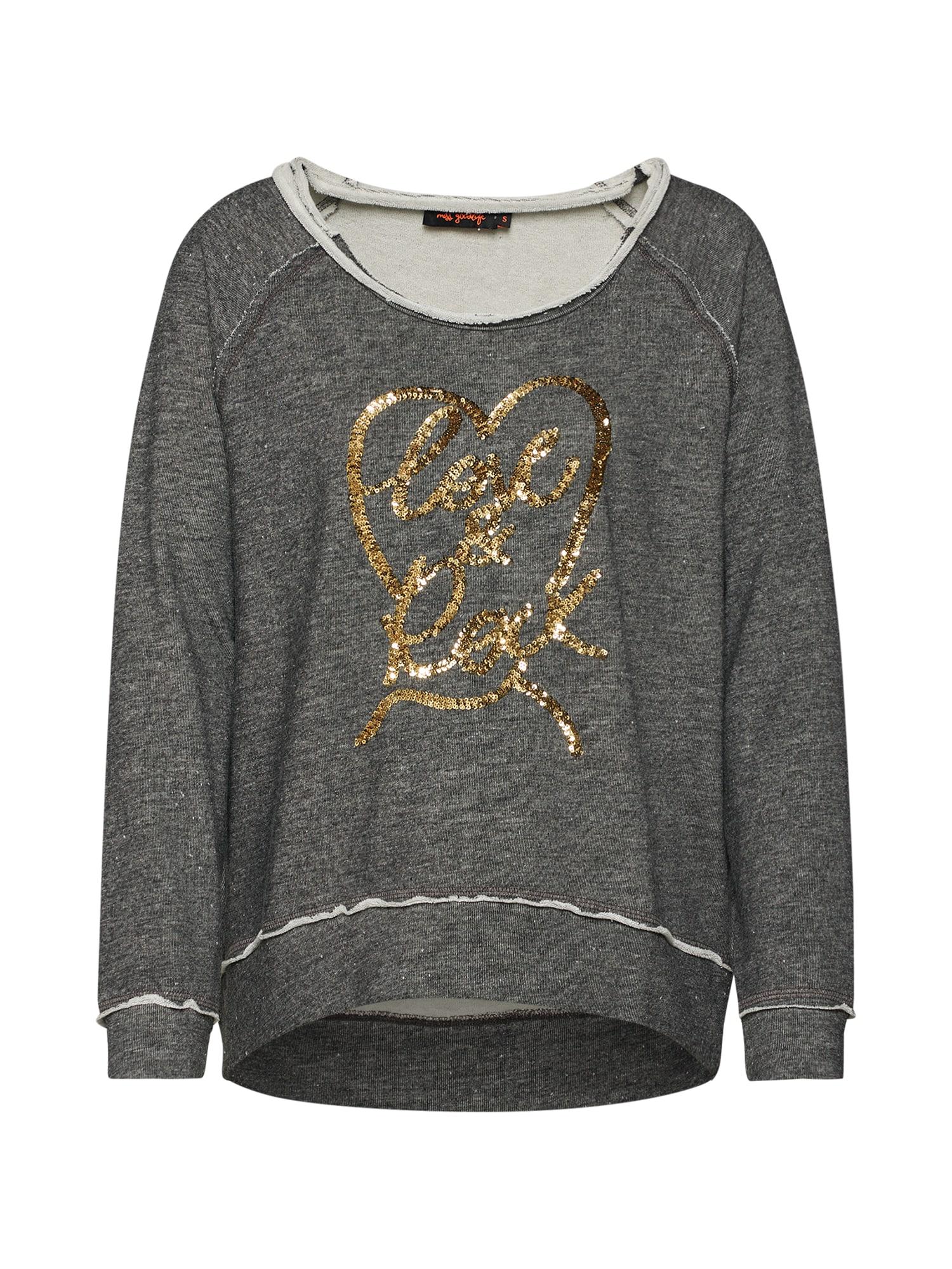 Miss Goodlife, Dames Sweatshirt 'Love & Rock', grijs