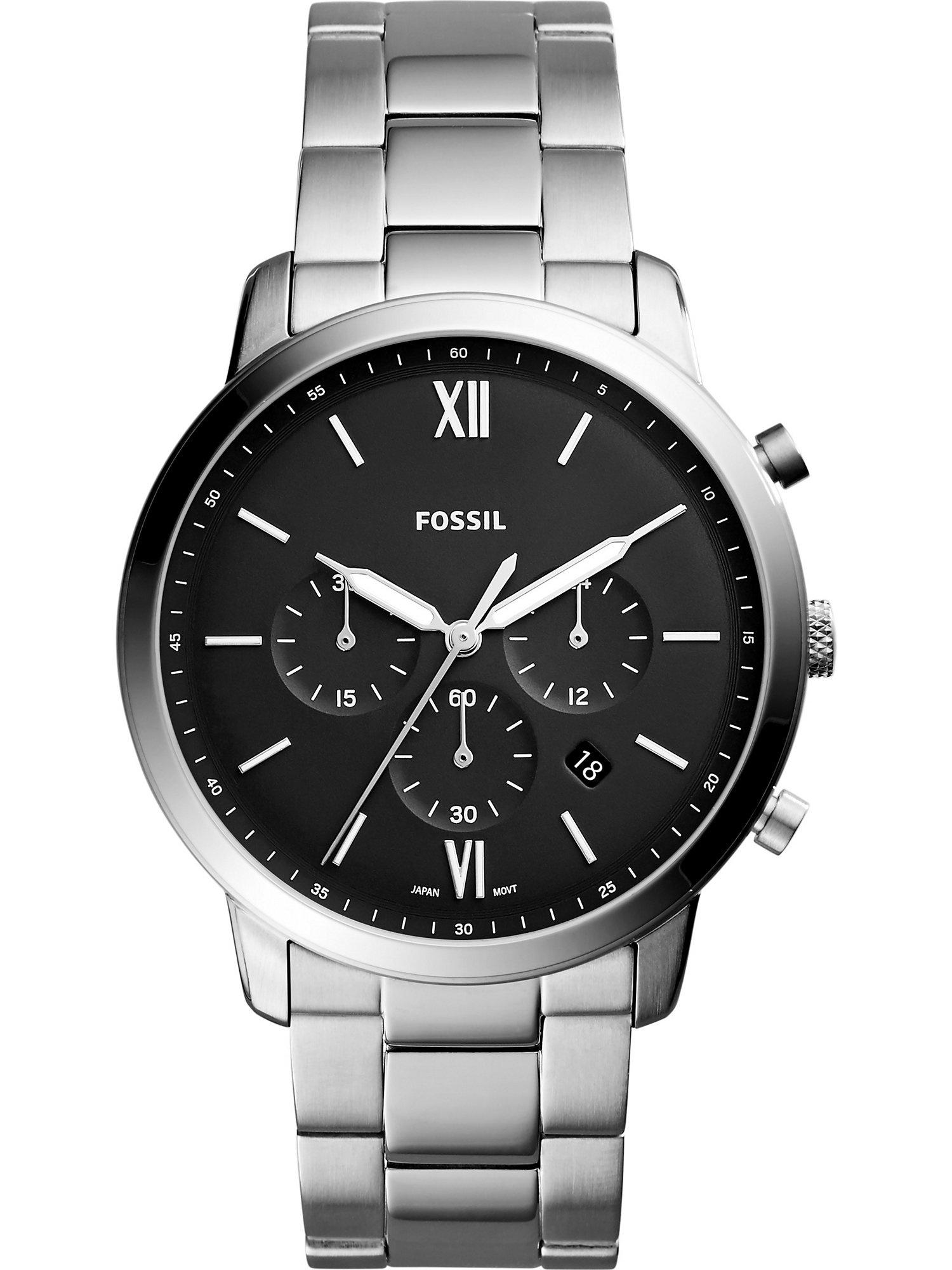 Analogové hodinky černá stříbrná FOSSIL