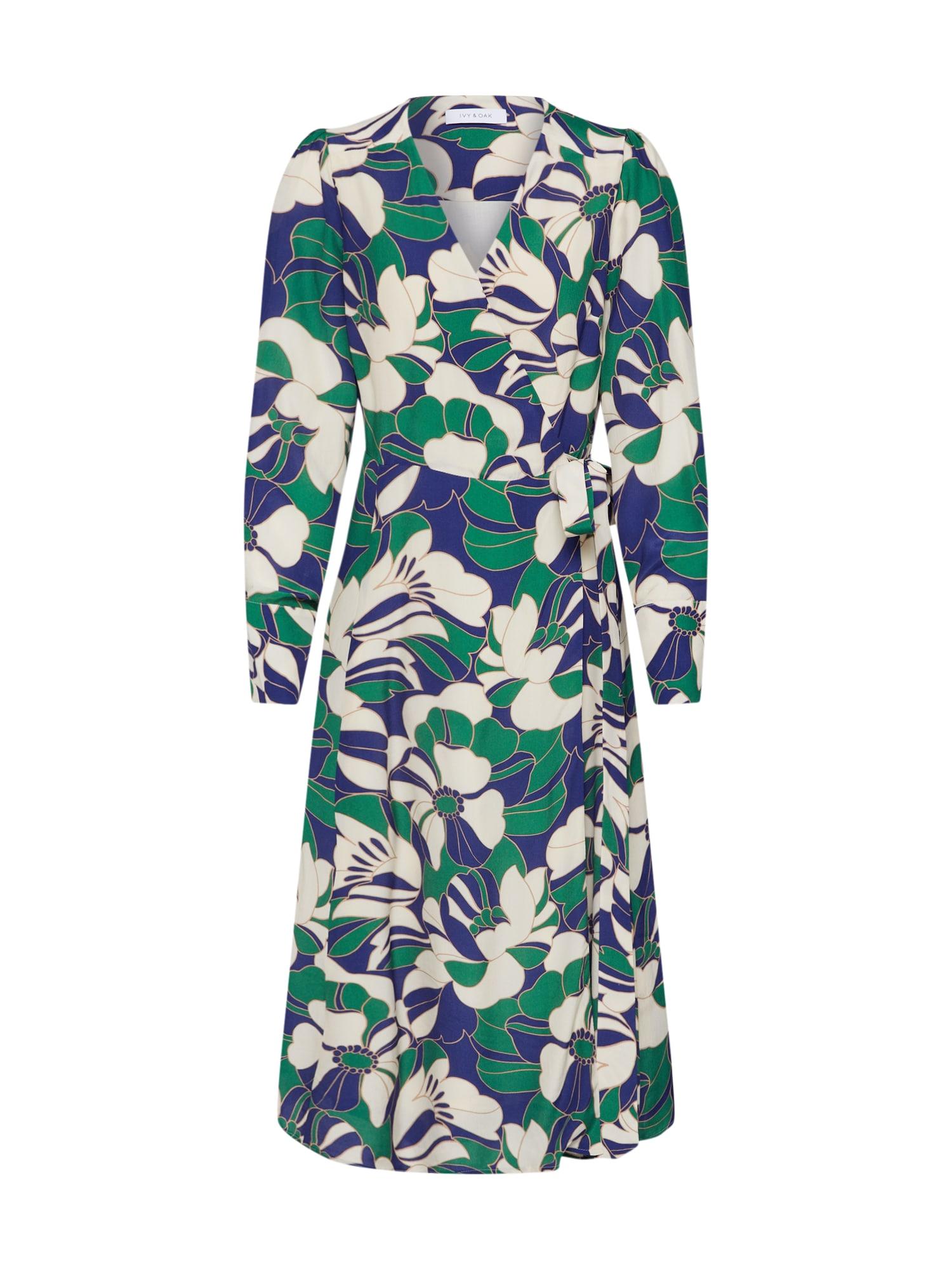 IVY & OAK Šaty  krémová / tmavě zelená / tmavě fialová