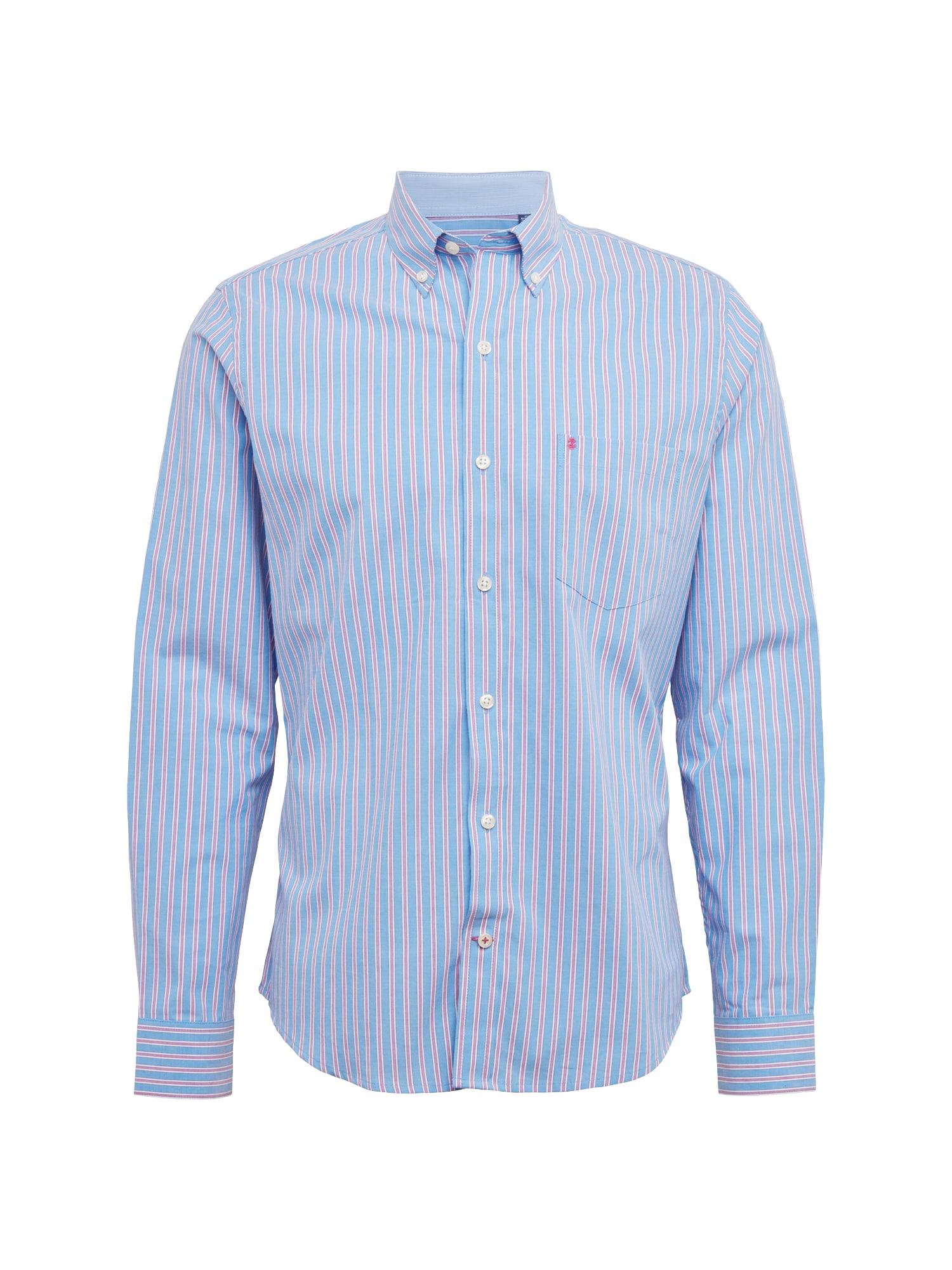 Košile POPLIN MULTI STRIPE BD SHIRT modrá vínově červená bílá IZOD