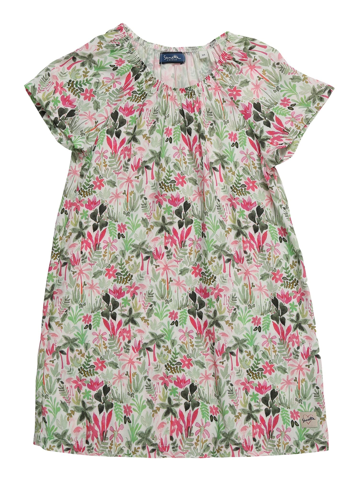 Šaty Dress slonová kost zelená růžová Sanetta Kidswear