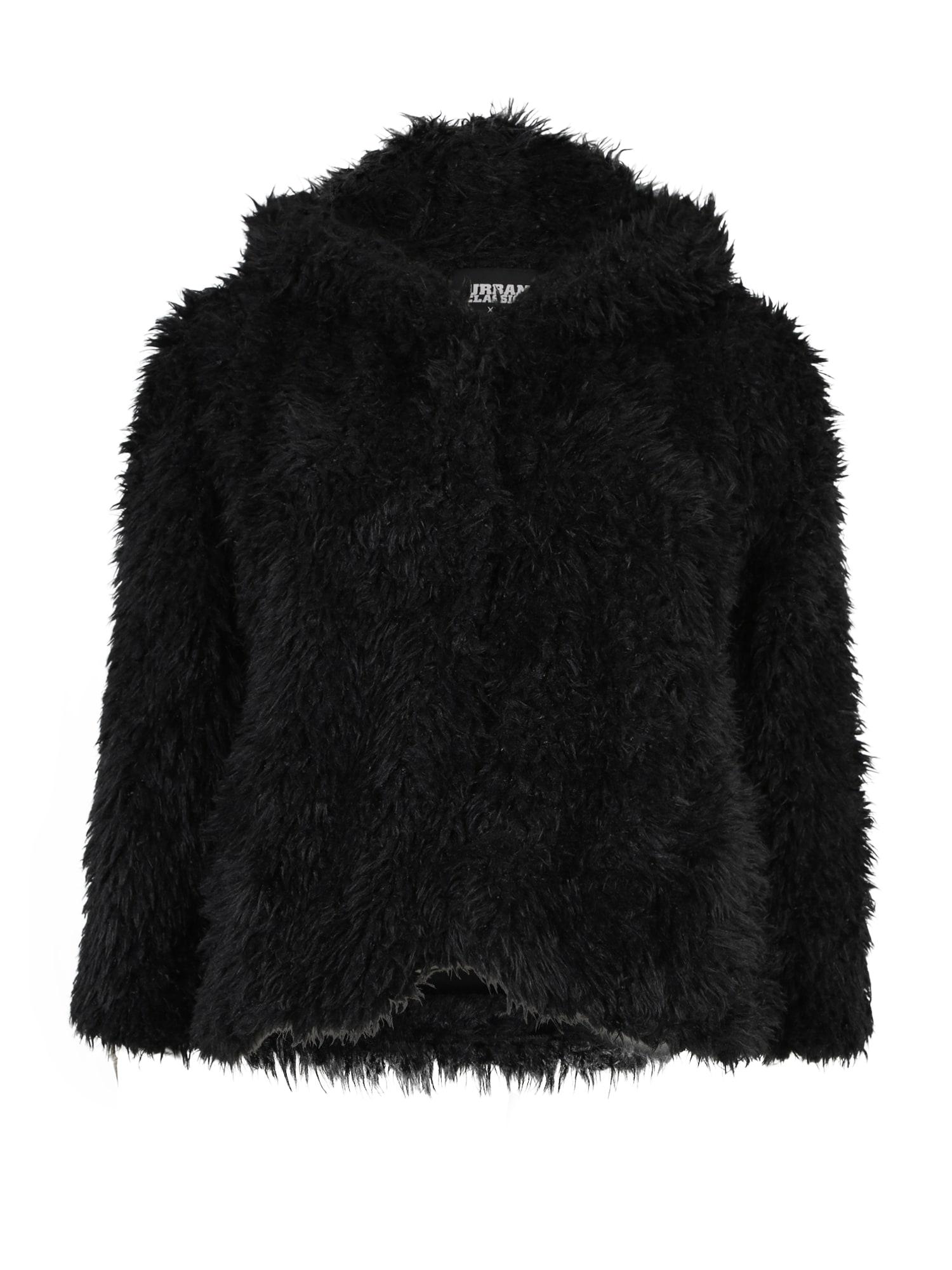 Zimní bunda Hooded Teddy Jacket černá Urban Classics Curvy