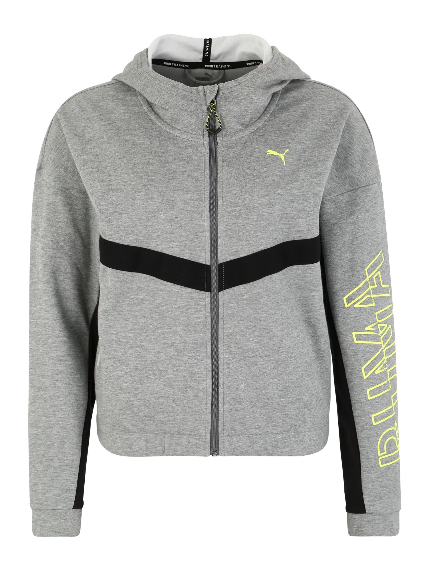 Sportovní mikina s kapucí HIT Feel It Sweat Jacket světle šedá PUMA