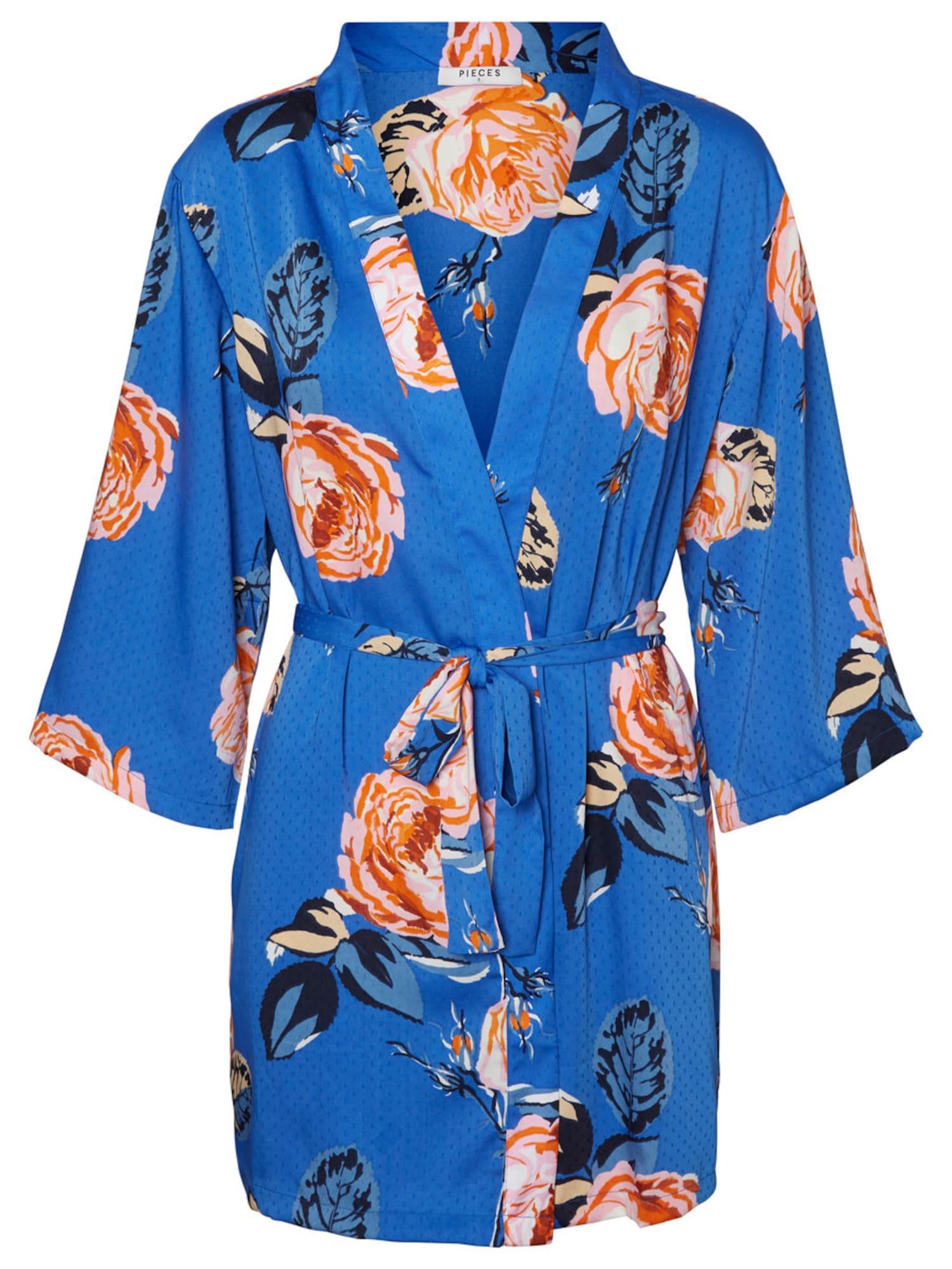 PIECES, Dames Kimono, blauw / sinaasappel
