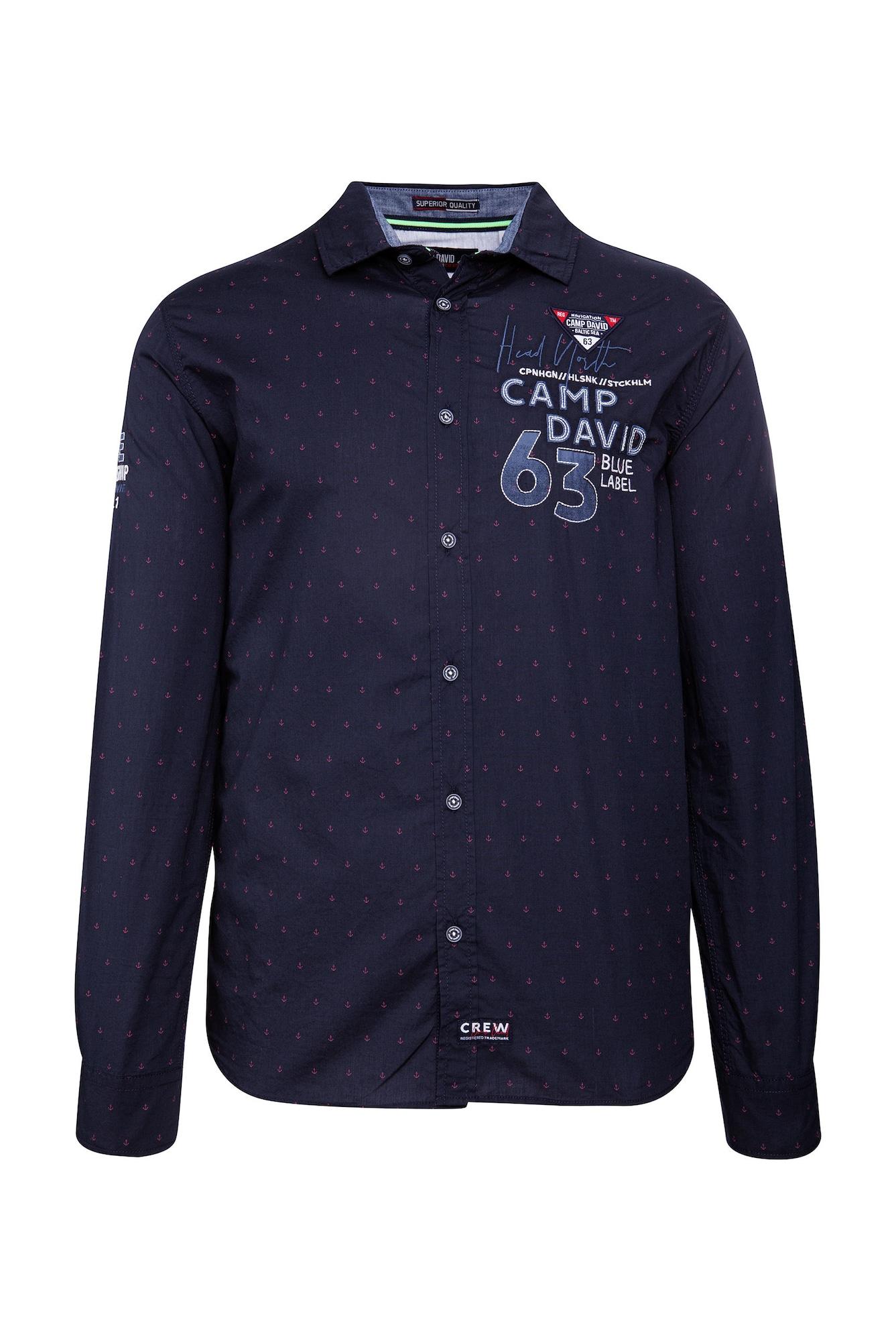 Košile tmavě modrá pink bílá CAMP DAVID