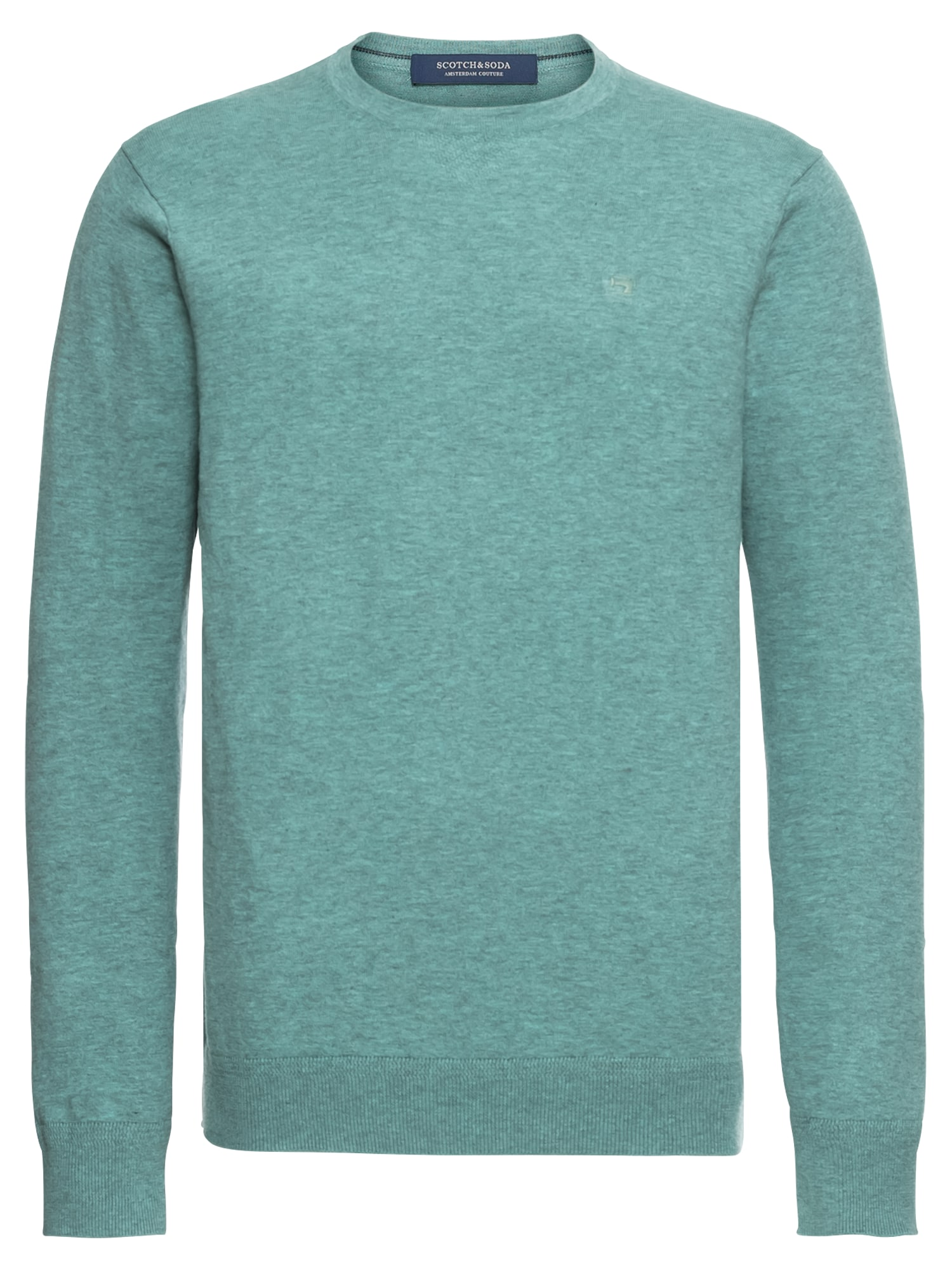 SCOTCH  and  SODA Heren Trui Classic cotton melange crewneck pull turquoise