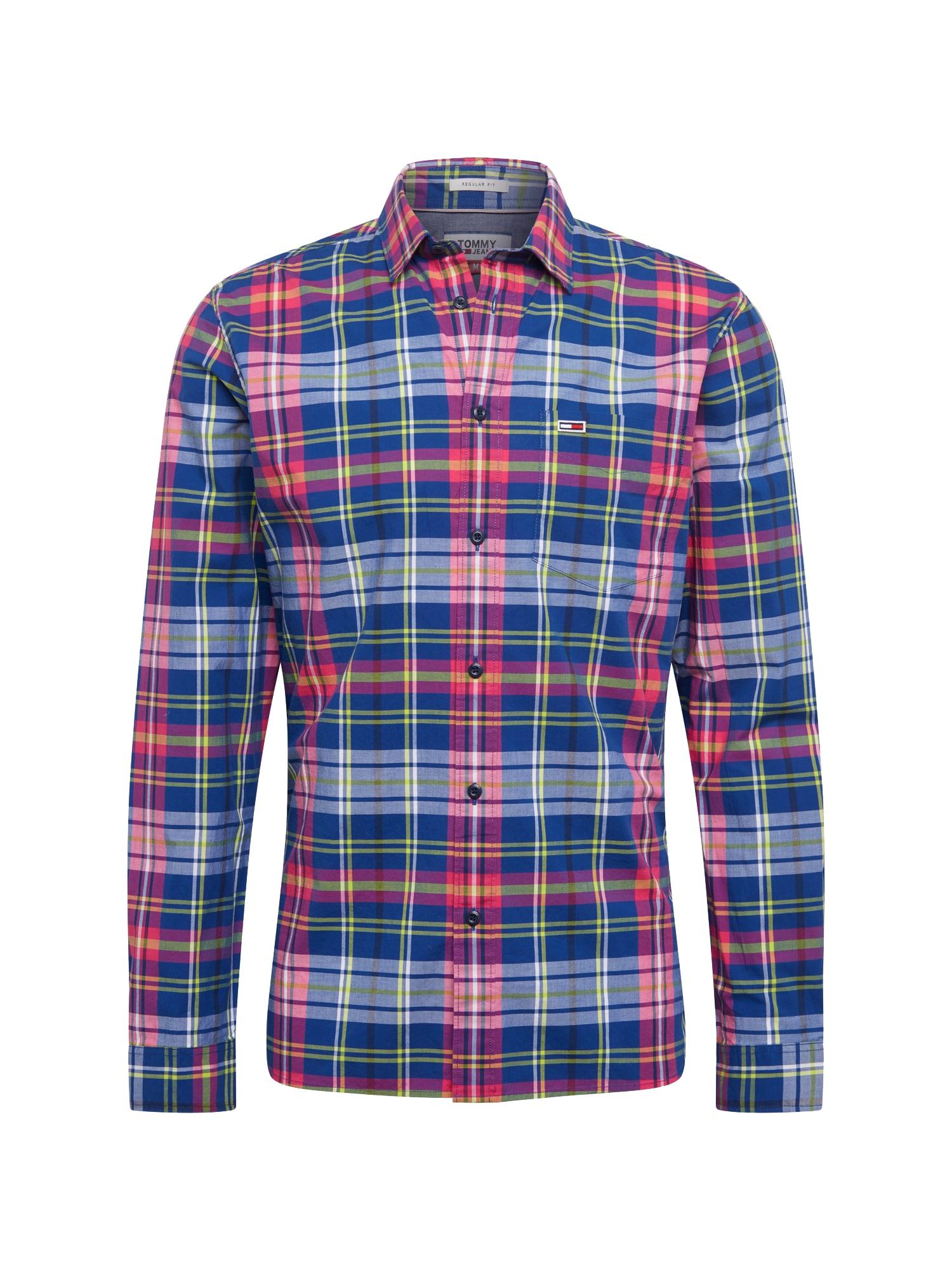 Košile TJM ESSENTIAL BIG CHECK modrá královská modrá pink Tommy Jeans