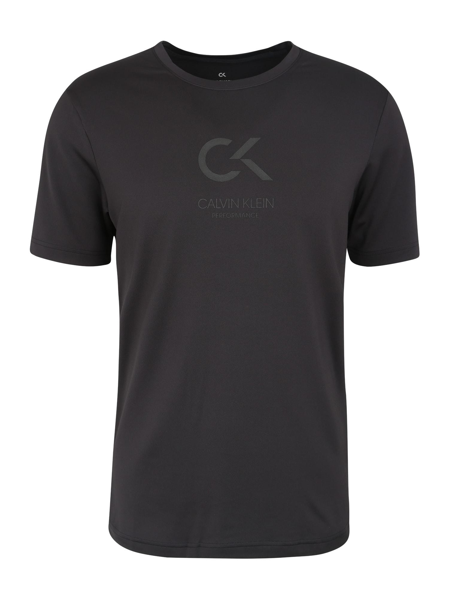 Funkční tričko SHORT SLEEVE LOGO TEE černá bílá Calvin Klein Performance