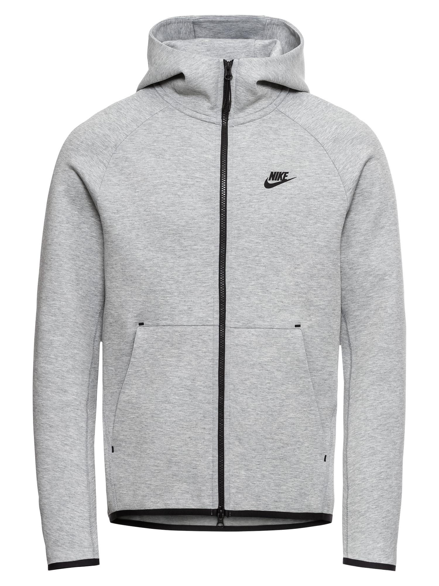 Mikina s kapucí M NSW TCH FLC HOODIE FZ tmavě šedá Nike Sportswear