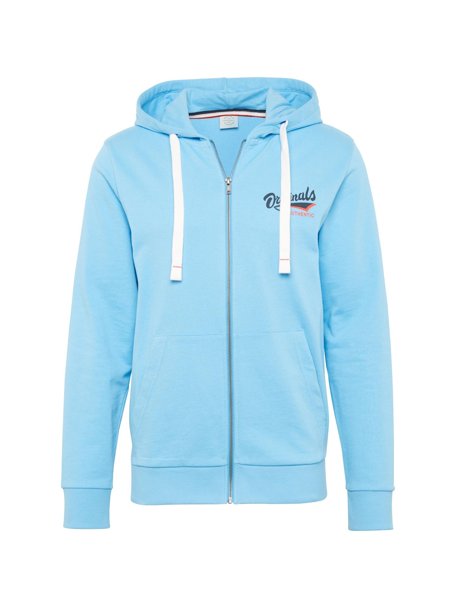 Mikina s kapucí SUMMERTIME aqua modrá JACK & JONES