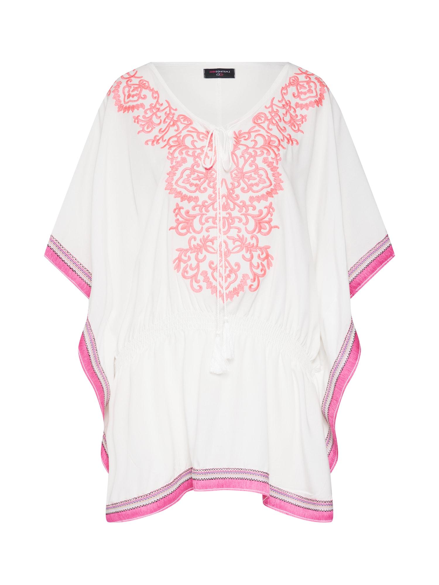 Tunika Ibiza pink bílá Zwillingsherz