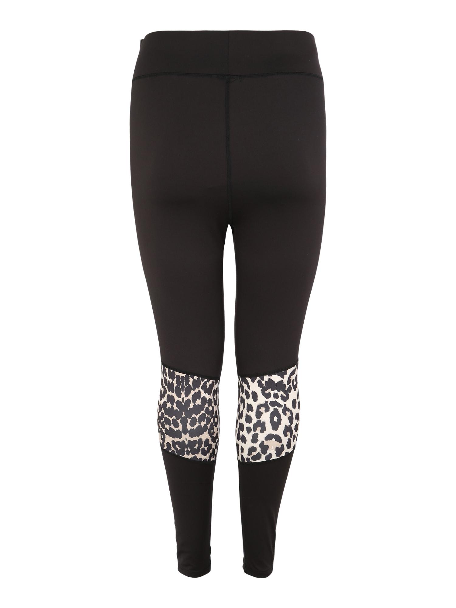 Sportovní kalhoty ALEOPARD hnědá černá Active By Zizzi