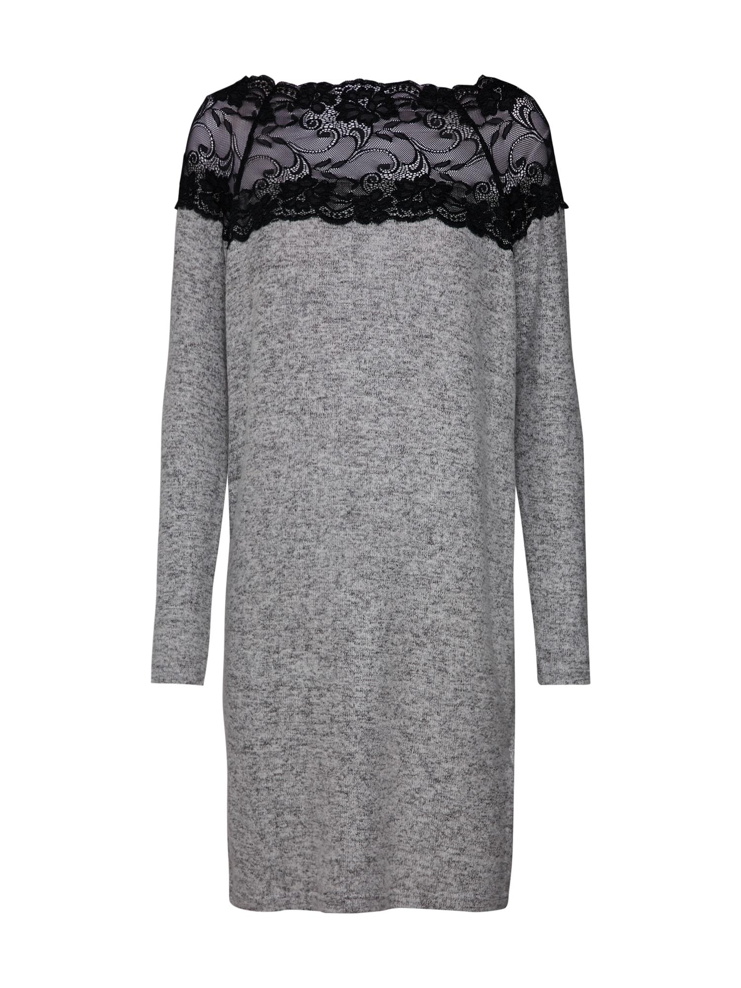 Úpletové šaty VMCIMA LACE LS DRESS světle šedá VERO MODA