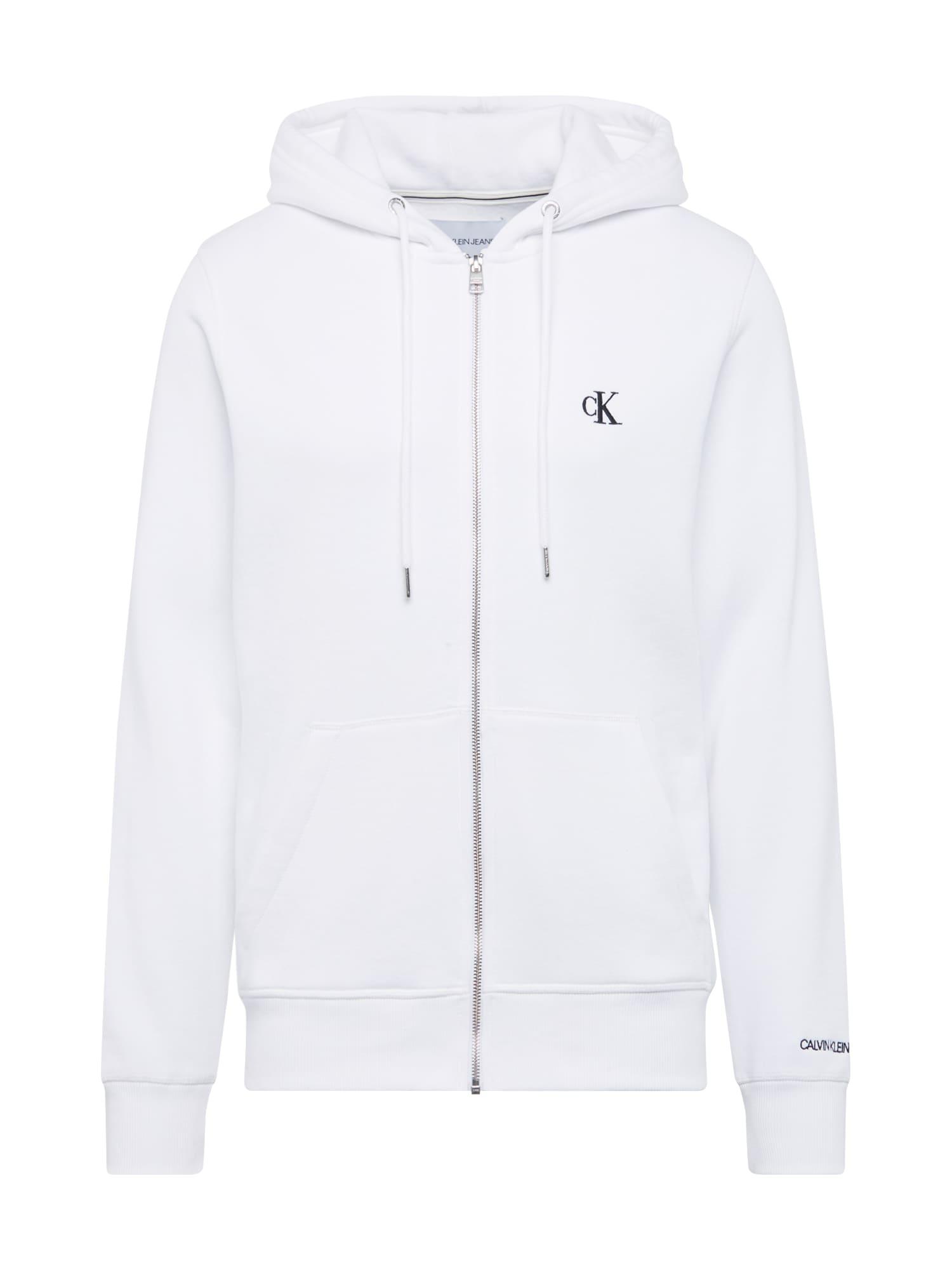Calvin Klein Jeans Mikina s kapucí  bílá