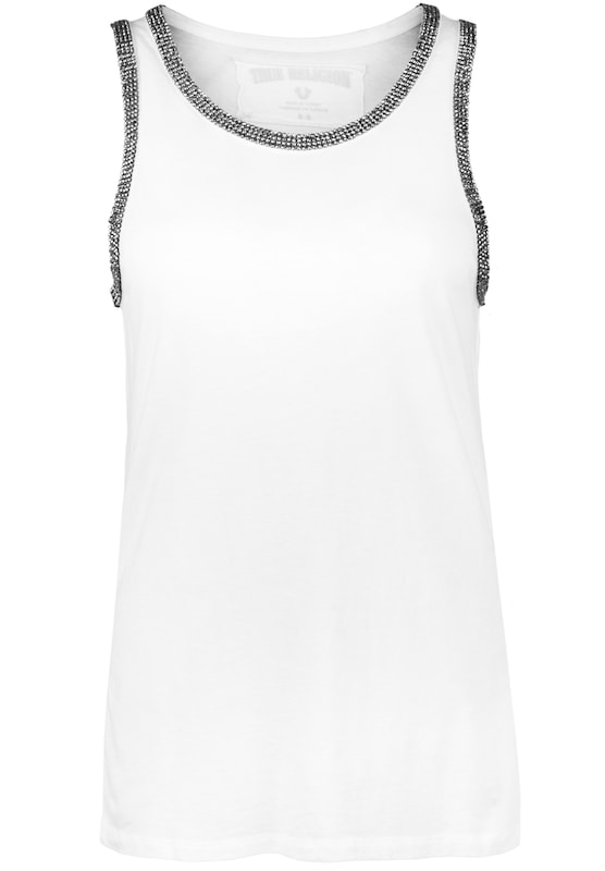 True Religion Tanktop STRASS weiss