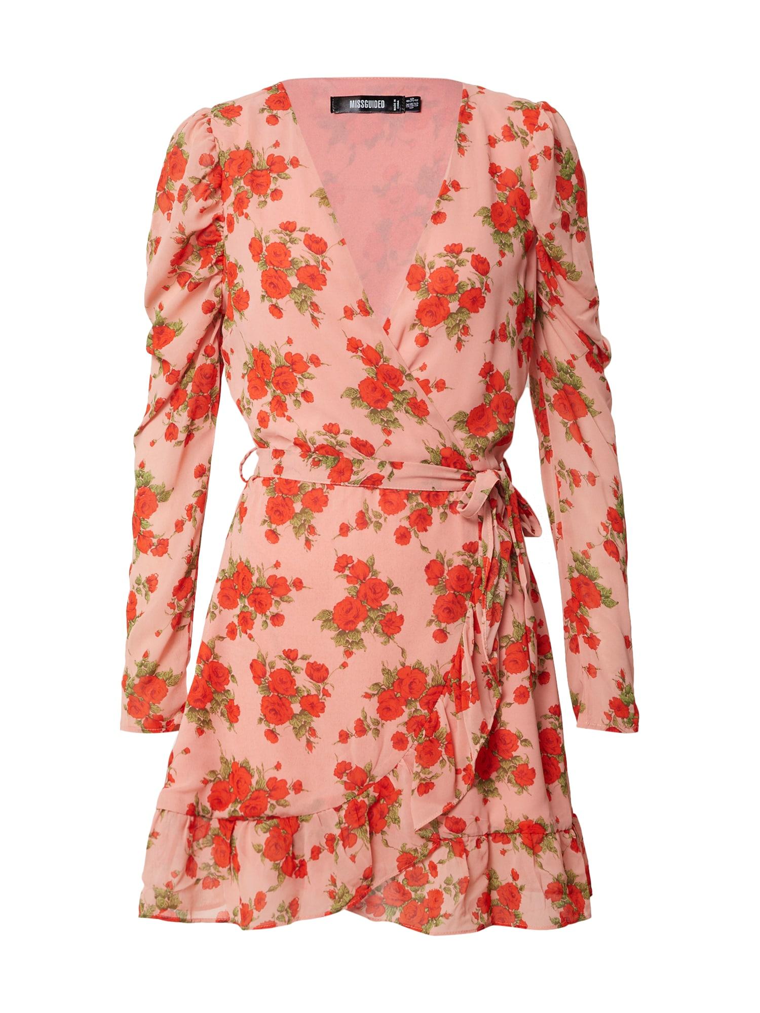 Missguided Šaty 'PUFF SLEEVE RUFFLE HEM WRAP TEA DRESS FLORAL'  pink