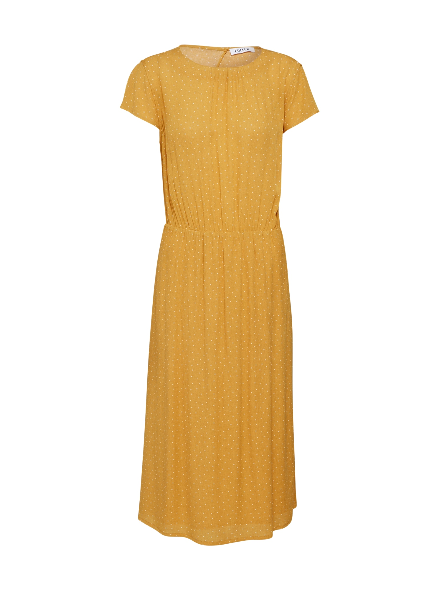 Letní šaty Yarina hořčicová bílá EDITED
