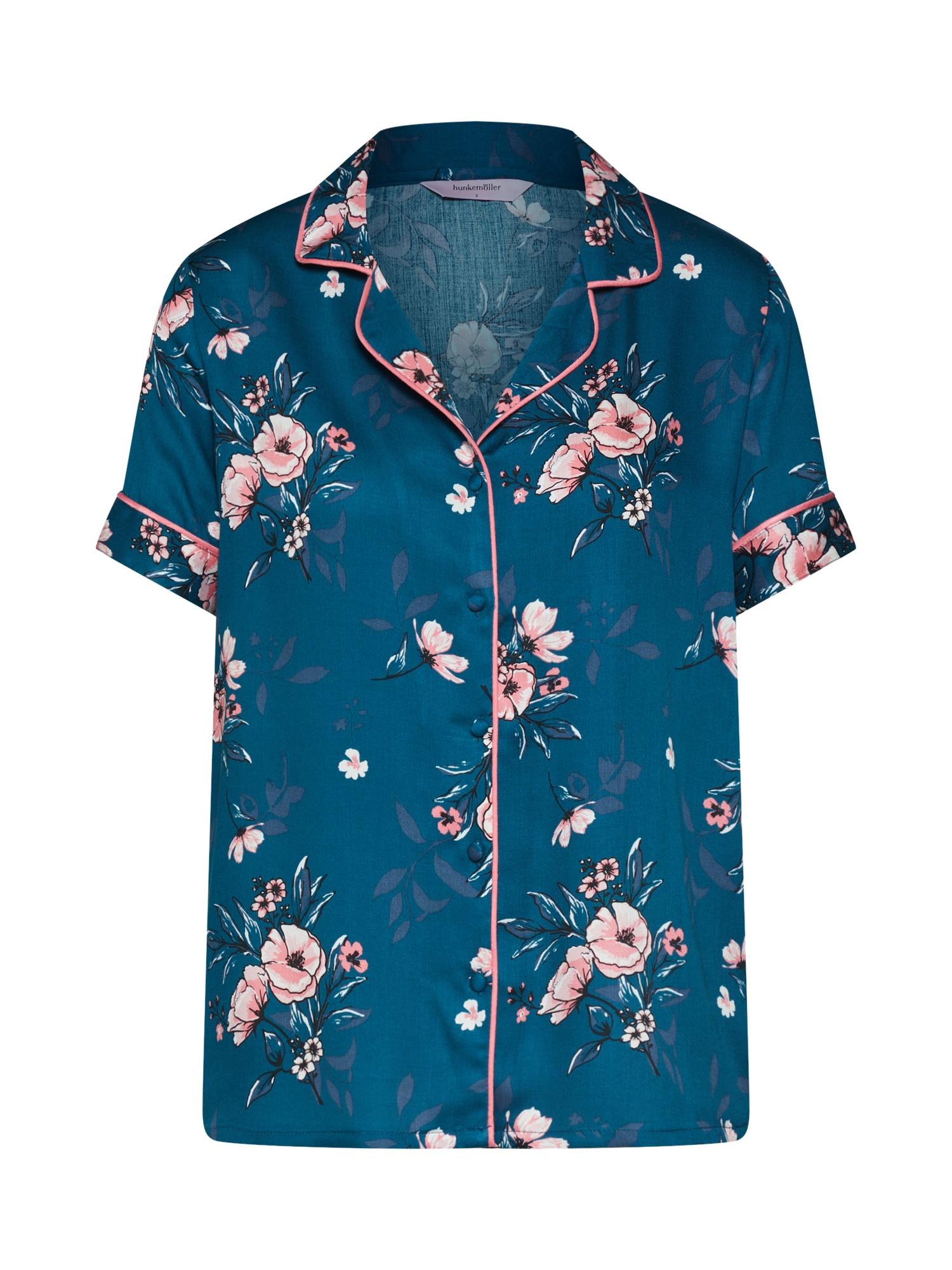 Tričko na spaní Jacket SS Woven Rose modrá Hunkemöller