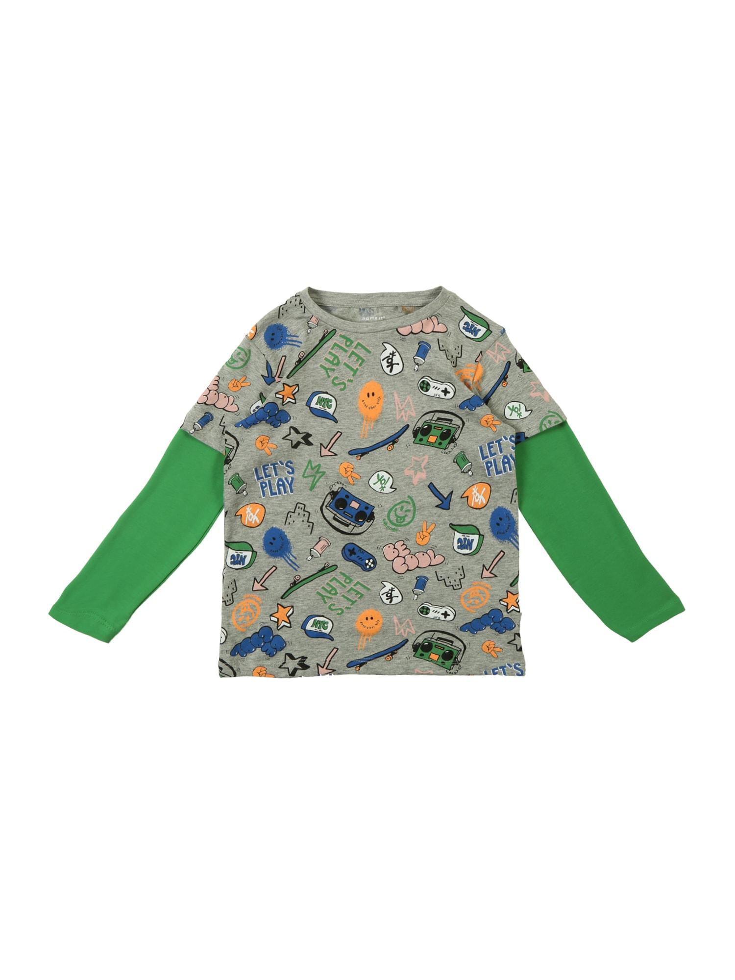 Tričko BASSEN šedý melír zelená mix barev NAME IT