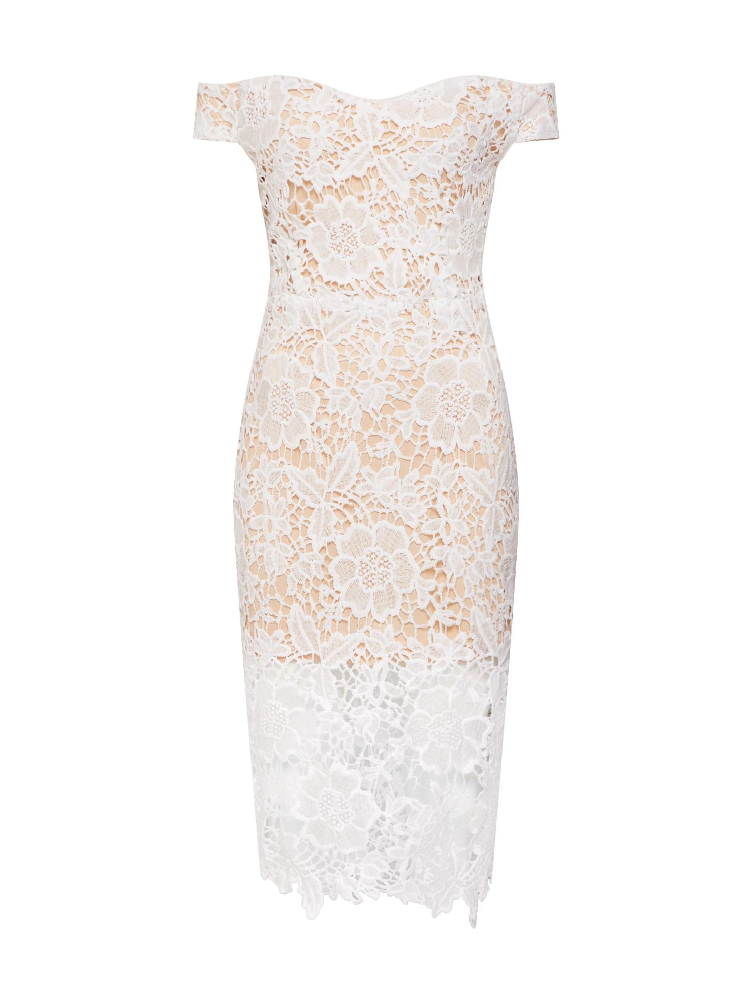 Šaty Bardot Lace Midi Dress bílá Missguided