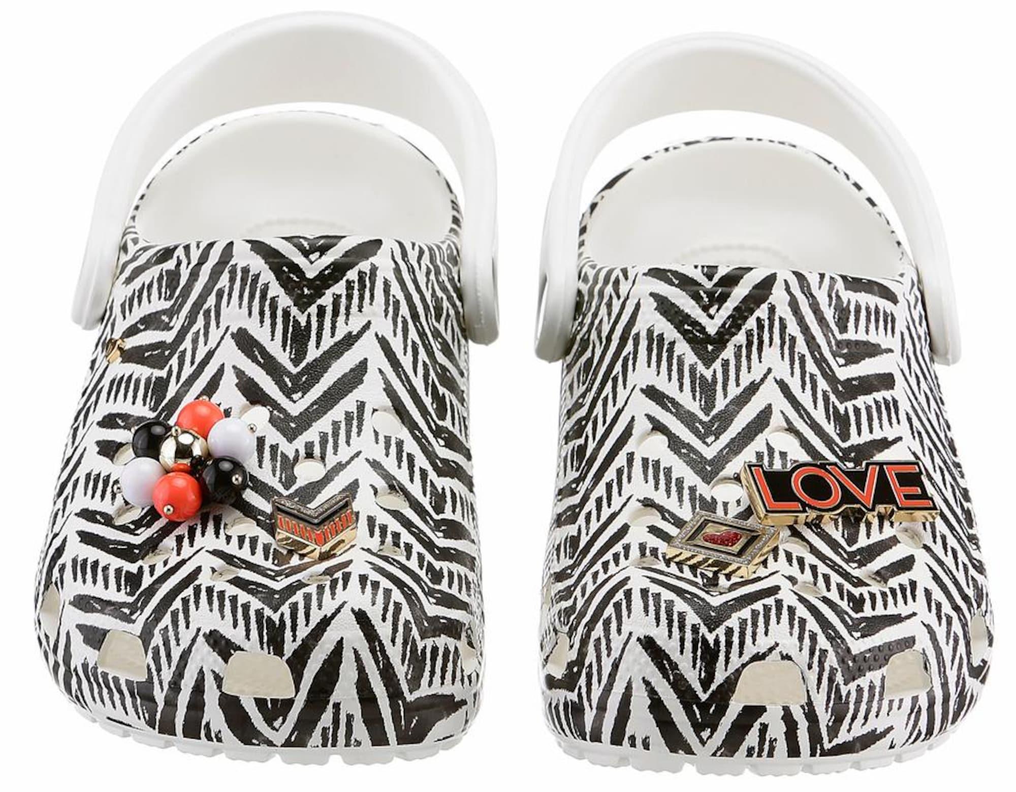 Crocs Pantofle 'Drew X Classic Trib'  czarny / biały