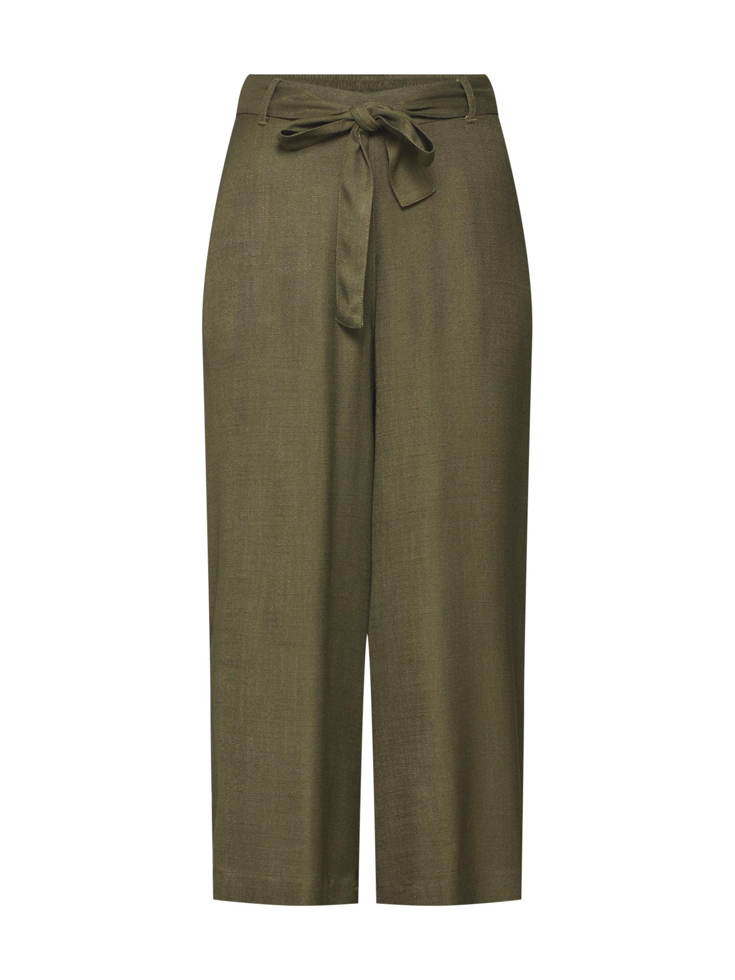Kaffe Kalhoty 'KAnour Line Cropped Pants'  tmavě zelená