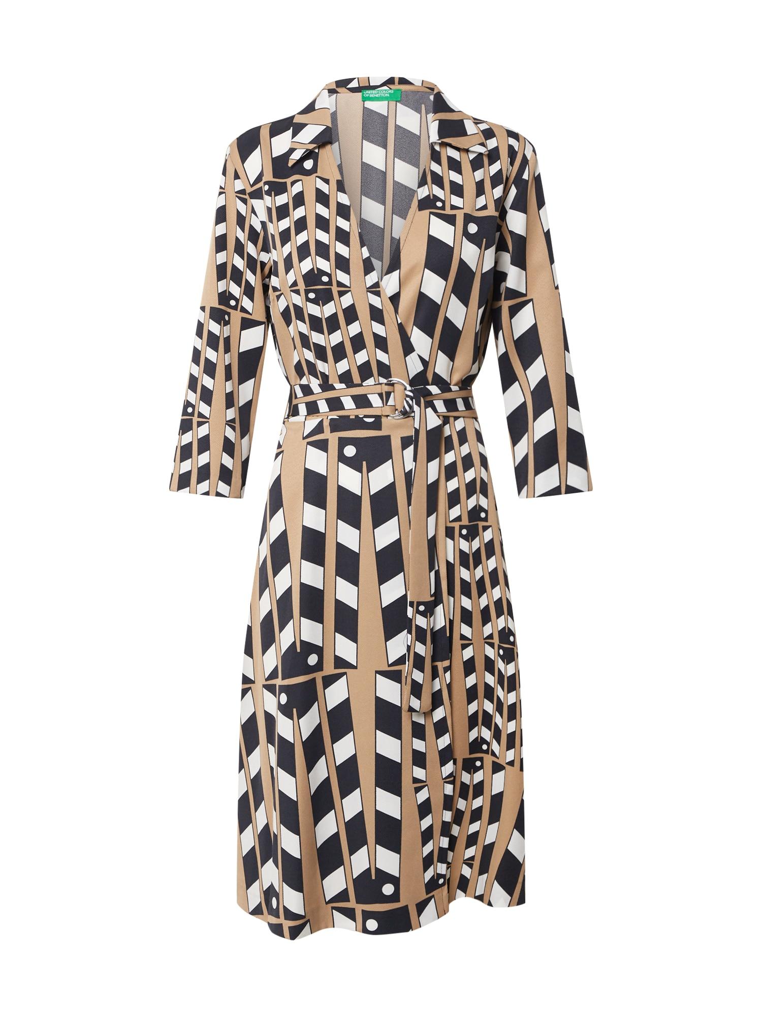 UNITED COLORS OF BENETTON Košilové šaty  bílá / černá / béžová