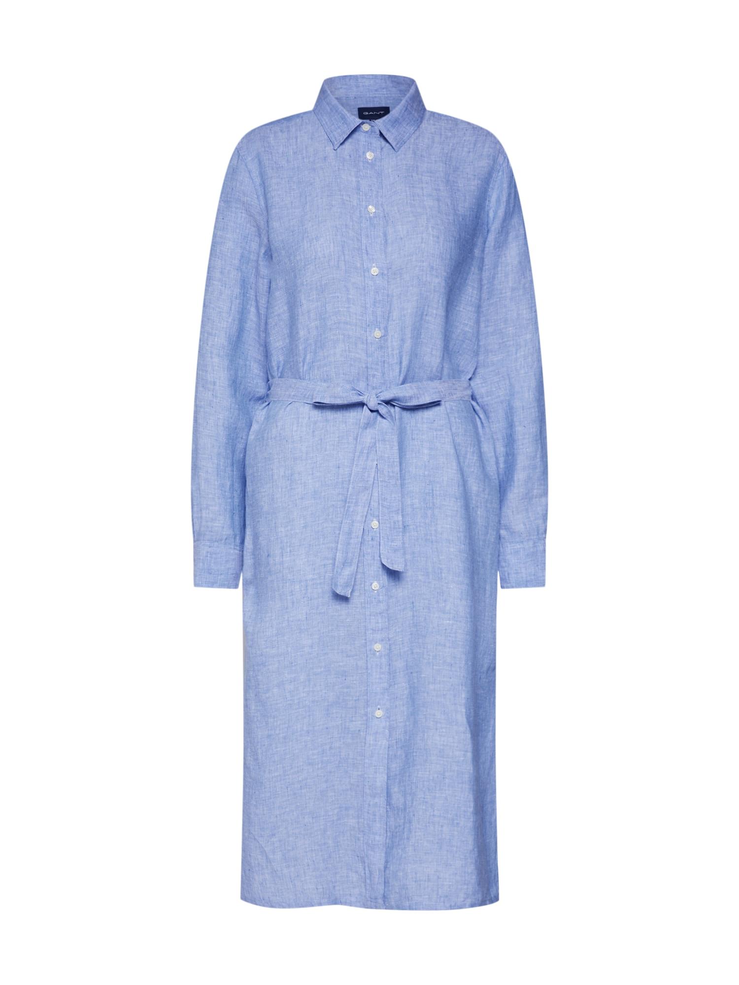 Košilové šaty O2. LINEN CHAMBRAY světlemodrá GANT