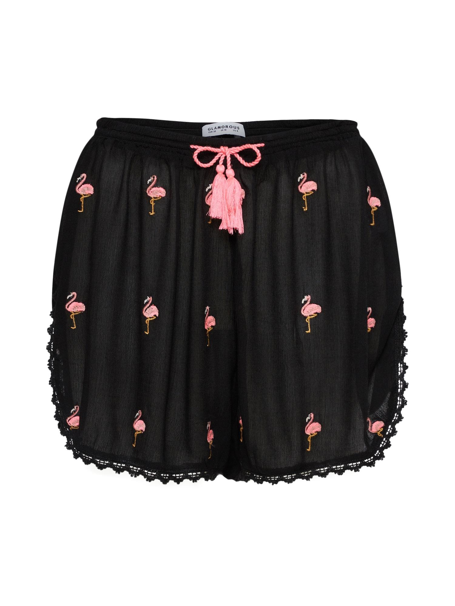 Kalhoty IN1070 pink černá GLAMOROUS