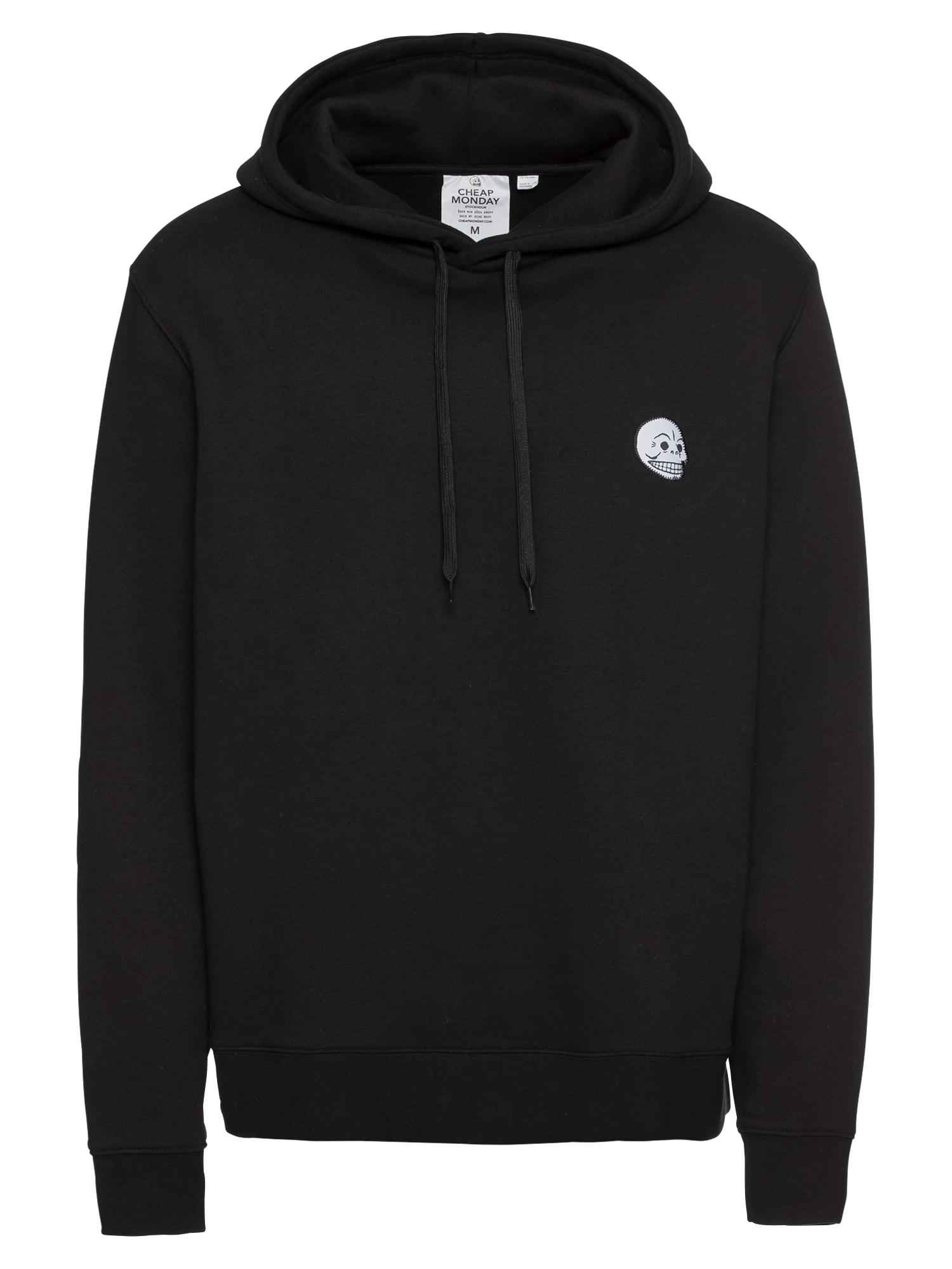 CHEAP MONDAY Heren Sweatshirt Pullover hood Skull badge zwart