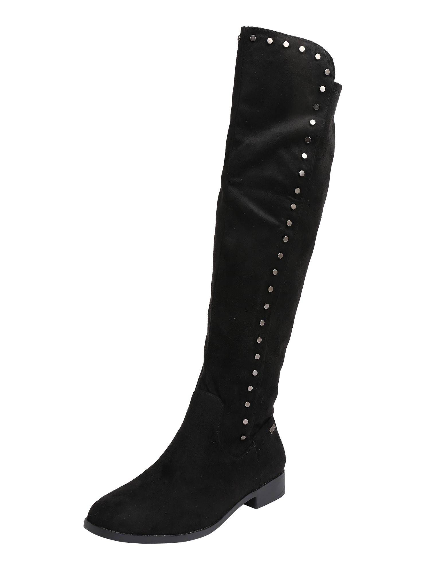 Kozačky nad kolena Catrina černá stříbrná MTNG