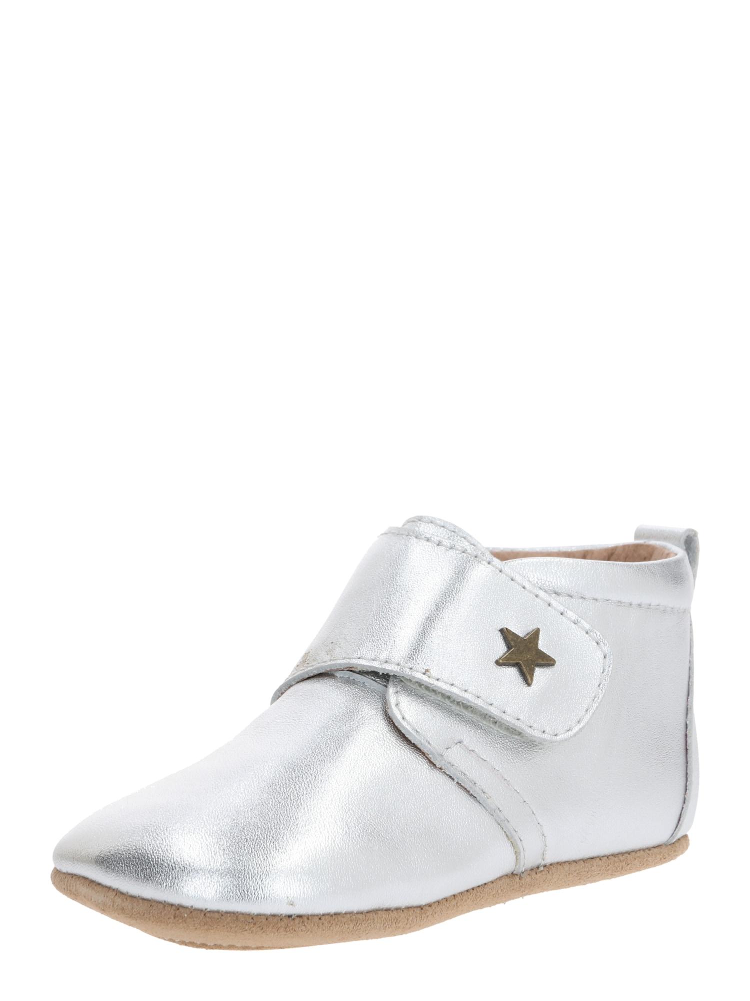 """BISGAARD Pantofle 'HOME SHOE - VELCRO """"STAR""""'  stříbrná"""