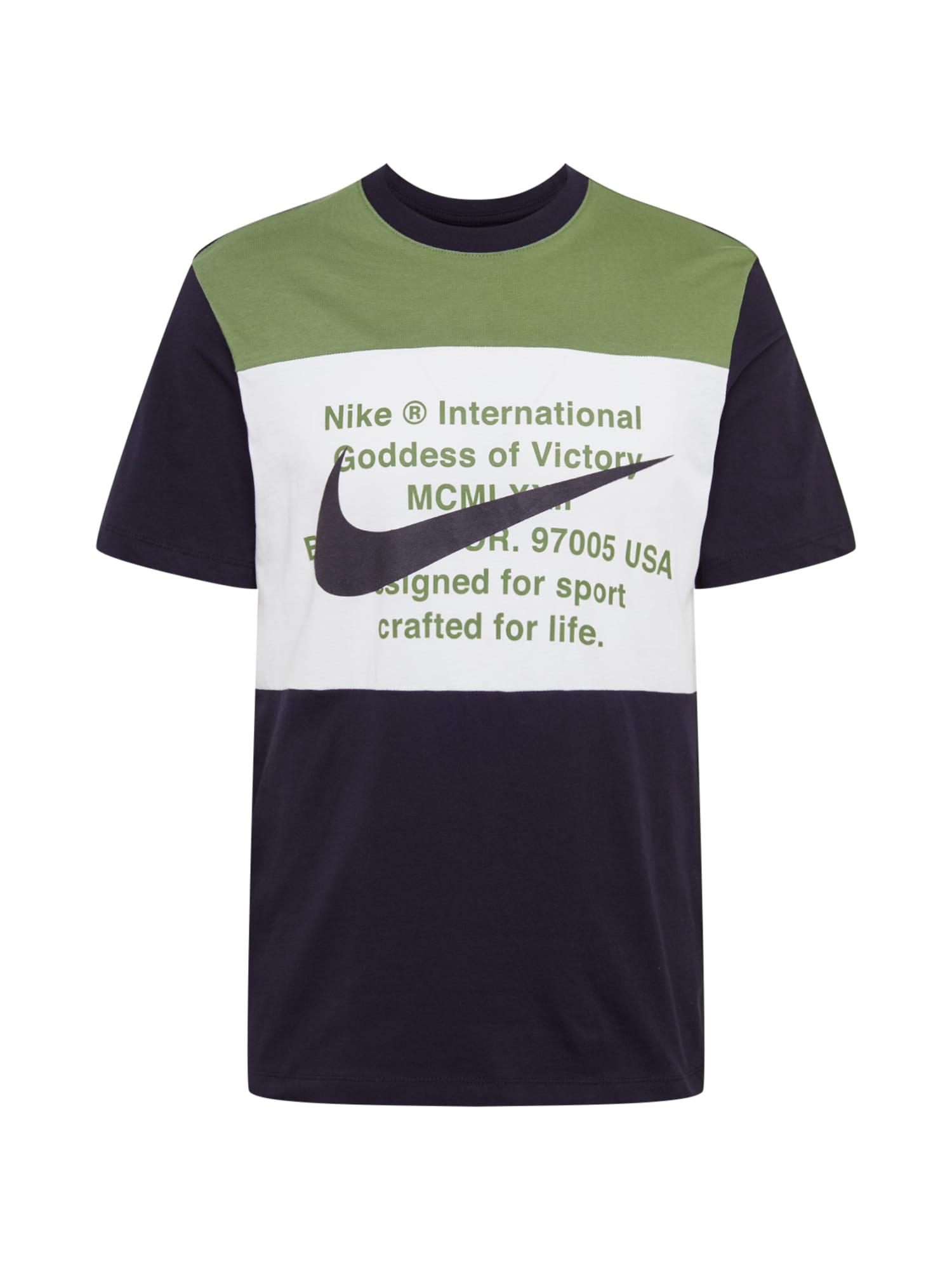 Nike Sportswear Tričko  biela / čierna / zelená
