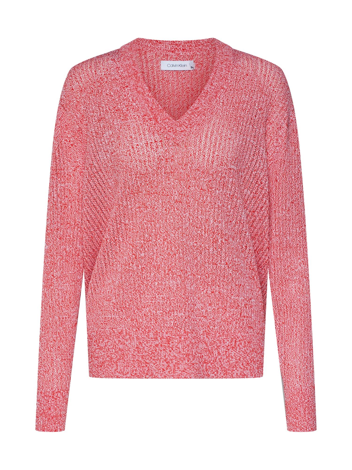 Svetr MICRO LACE MOULINE V NK SWTR tmavě růžová červená Calvin Klein