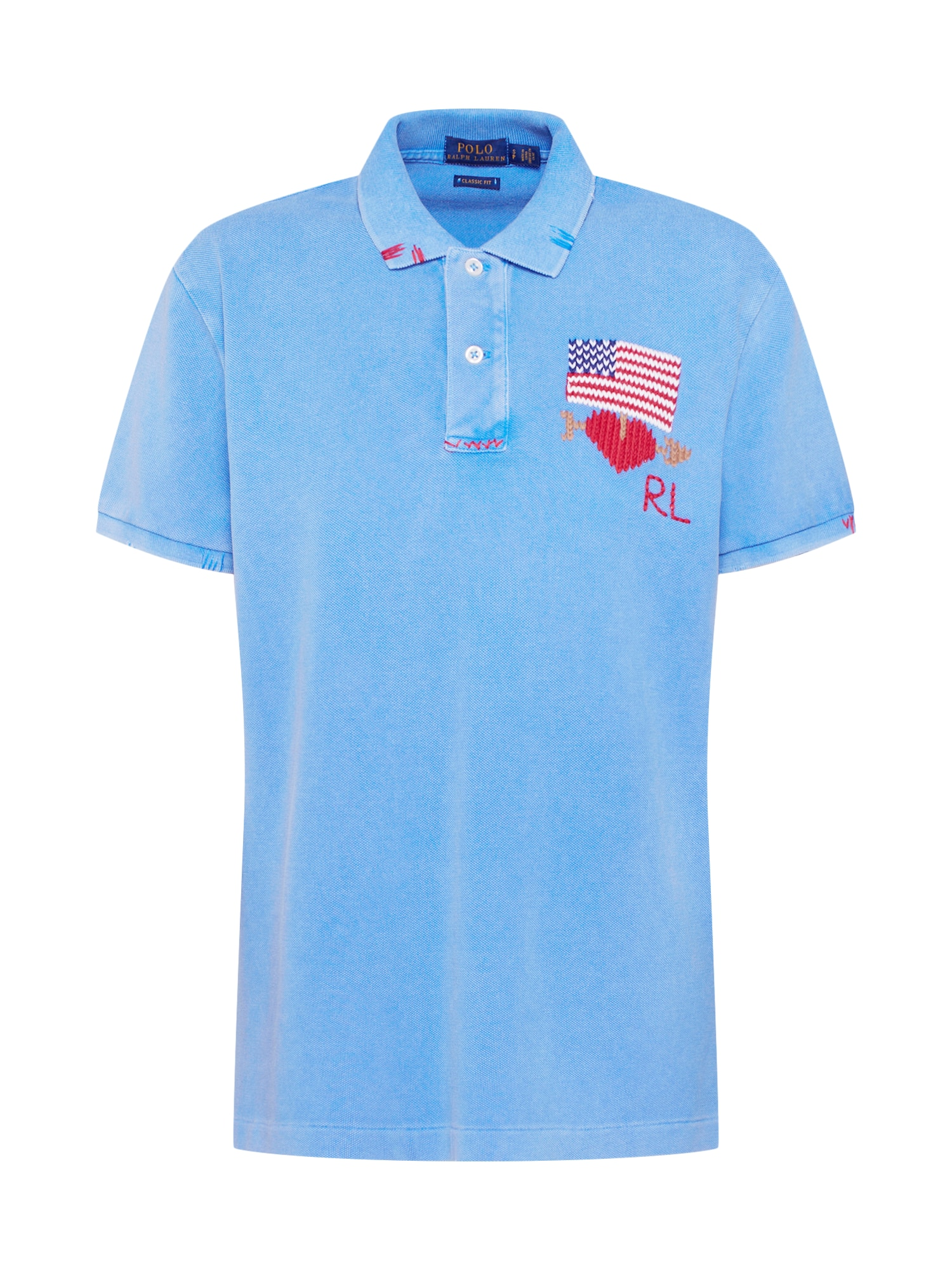 Tričko CL FIT W FLG-SHORT SLEEVE-KNIT modrá POLO RALPH LAUREN