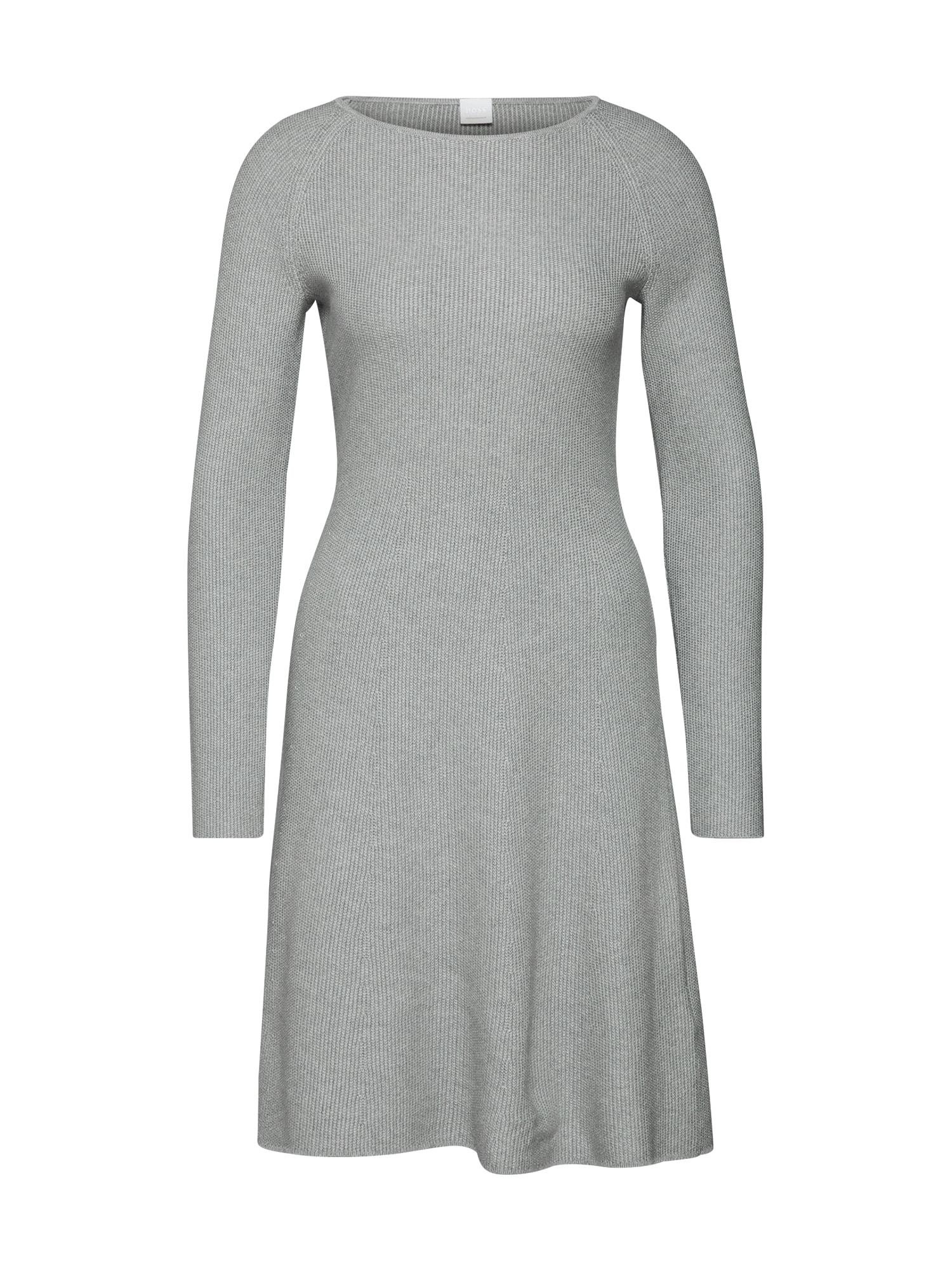 Úpletové šaty Iesibedda stříbrně šedá BOSS