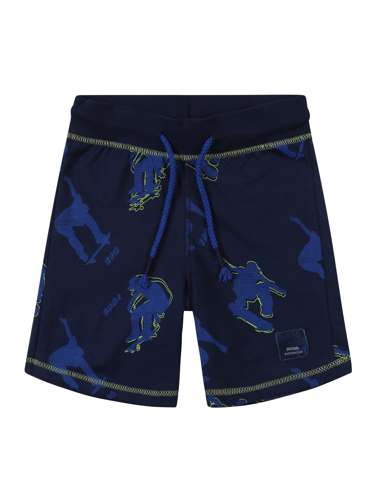 Kalhoty modrá tmavě modrá svítivě žlutá Sanetta Kidswear