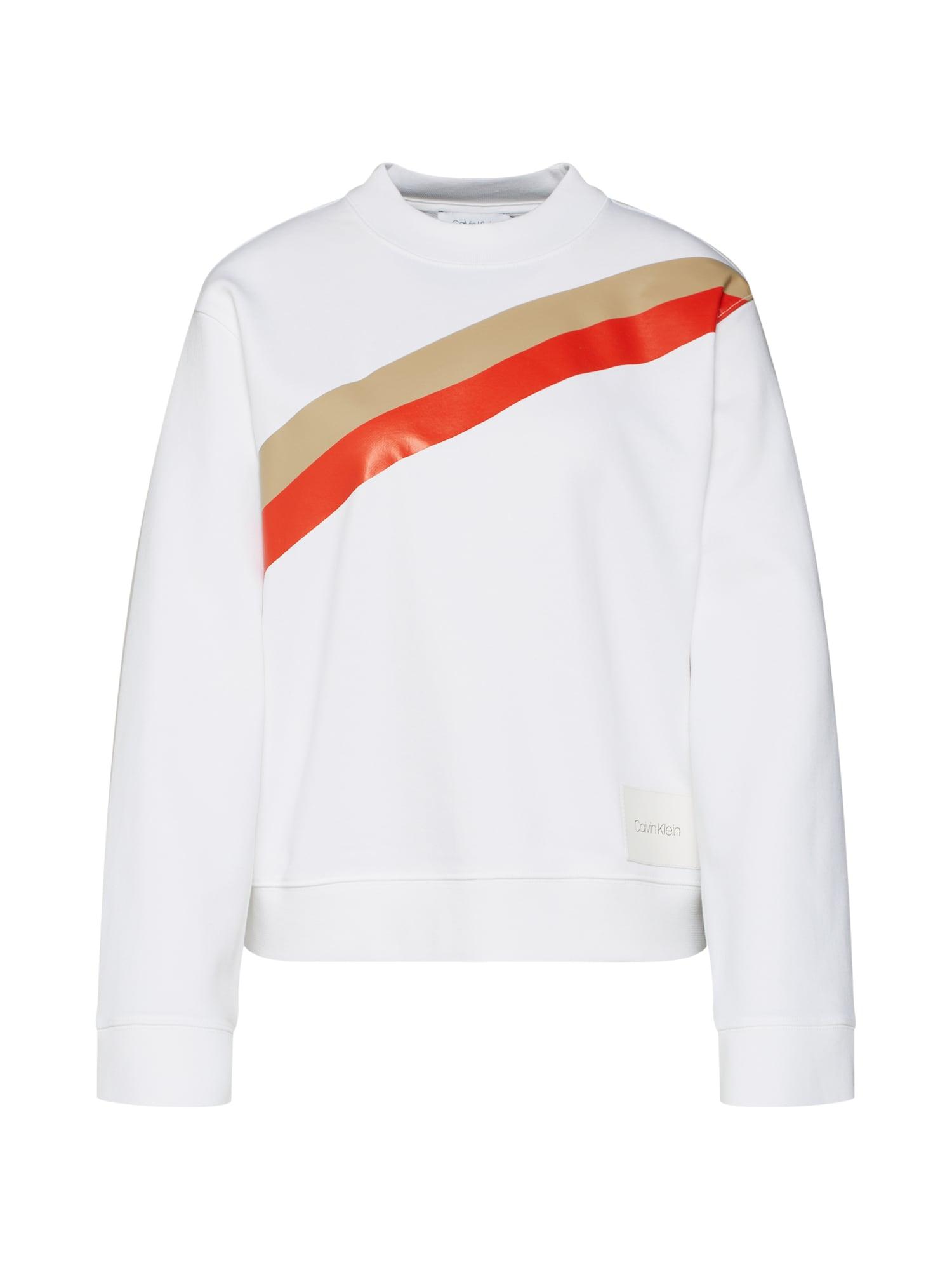 Mikina YOKE STRIPE FUNNEL SWEATSHIRT LS zlatá světle červená bílá Calvin Klein