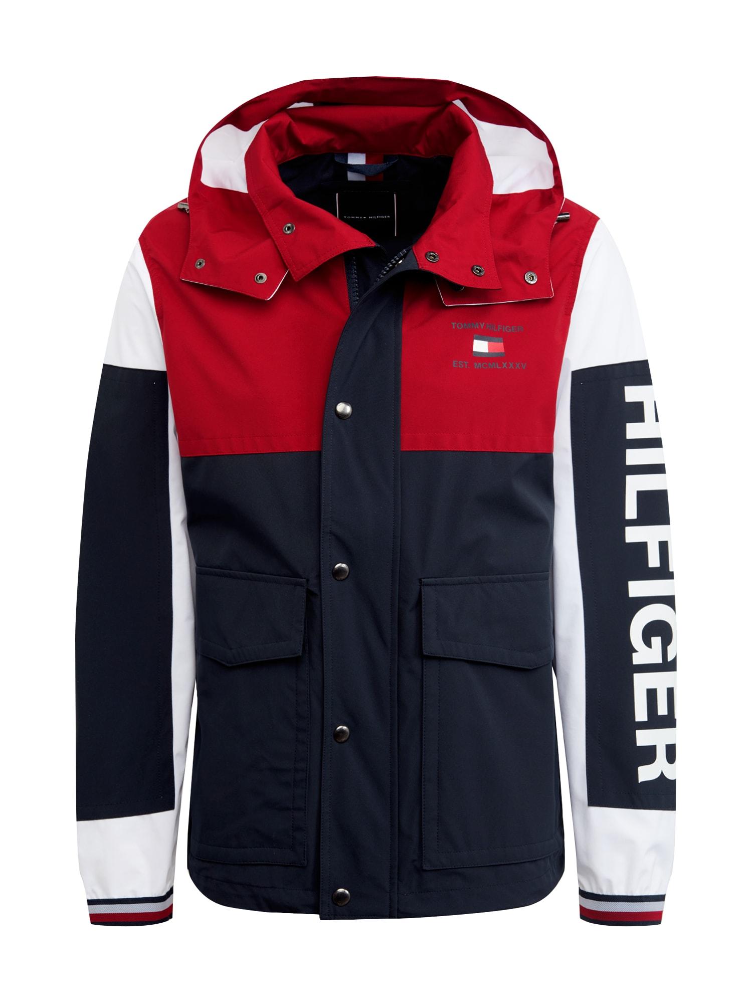 TOMMY HILFIGER Přechodná bunda  červená / bílá / tmavě modrá