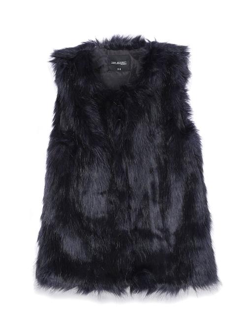 Stilvolle Weste aus glänzendem Kunstfell von Top Secret. Die feminine Weste ist ideal für die Übergangszeit und den Winter geeignet. Durch das ärmellose Design ist diese leicht kombinierbar.
