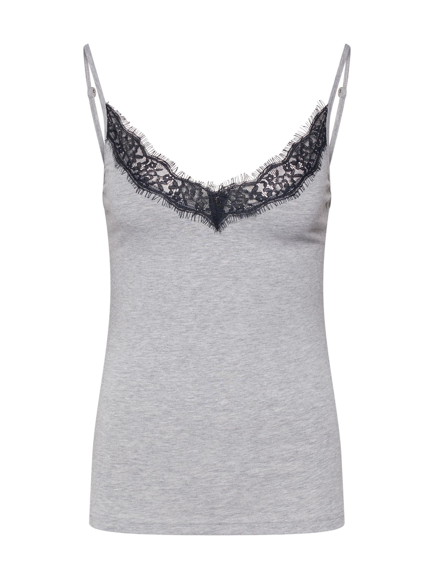 Tričko na spaní Delicate šedá černá Hunkemöller