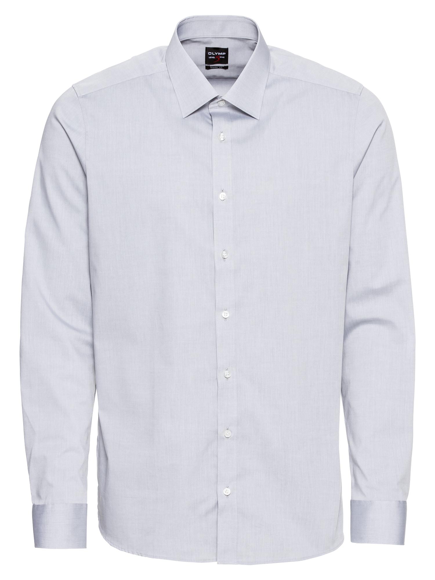 Společenská košile Level 5 Chambray světle šedá OLYMP